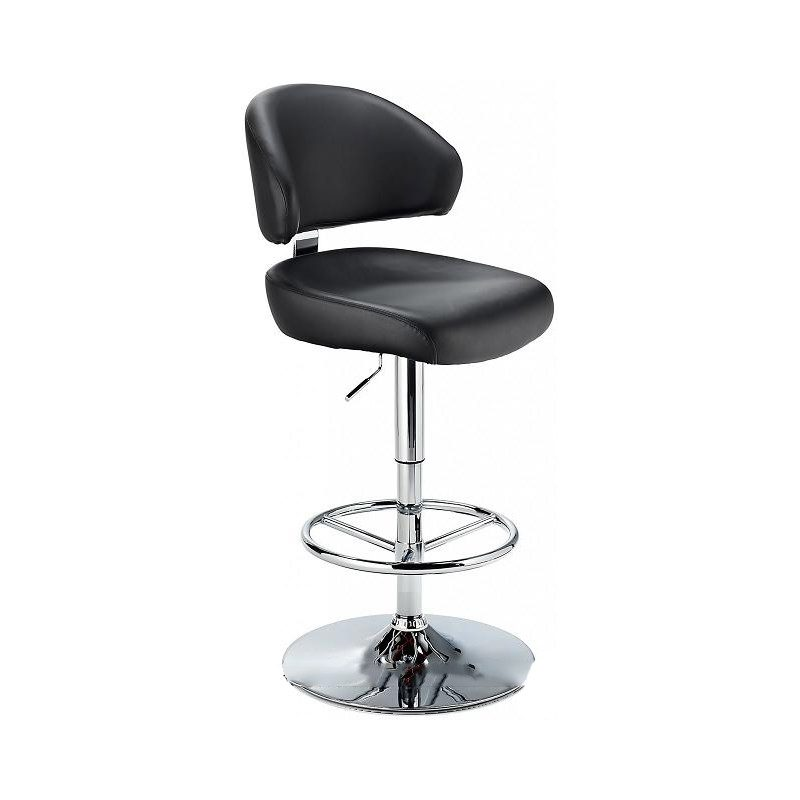 Monarch Padded Seat Adjustable Kitchen Bar Stool - Black - Brushed Stainless Steel