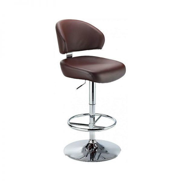 Monarch Padded Seat Adjustable Kitchen Bar Stool - Brown - Brushed Stainless Steel