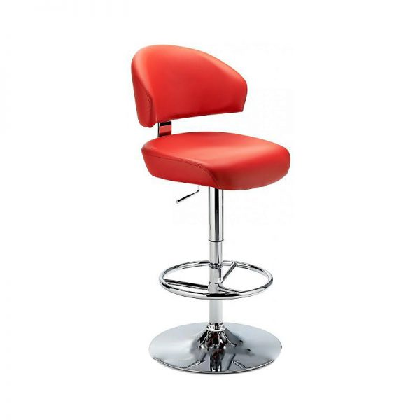 Monarch Padded Seat Adjustable Kitchen Bar Stool - Red - Brushed Stainless Steel