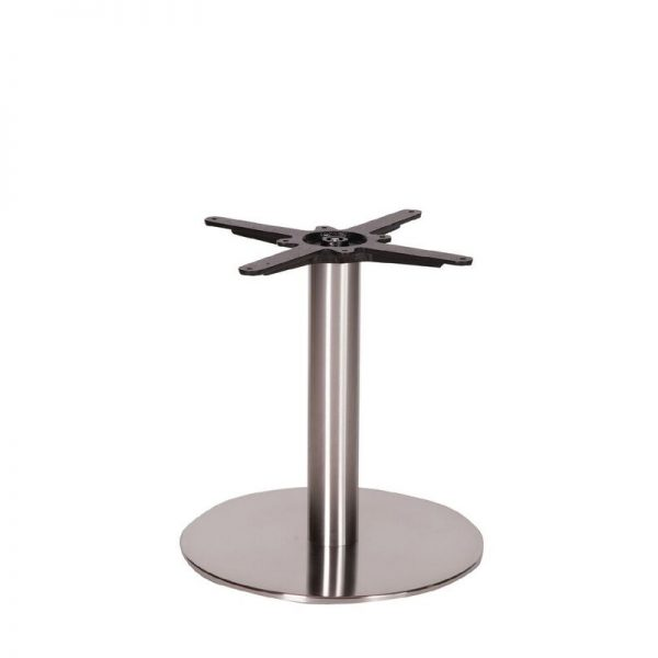 Daniella Round Brushed Steel Tall Bar Fixed Floor Commercial Table Base - 48cm x 60cm