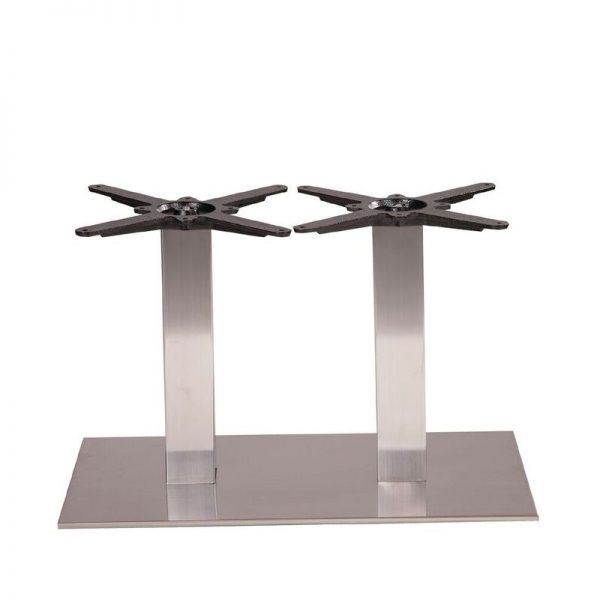 Daniella Twin Square Brushed Steel Tall Bar Fixed Floor Commercial Table Base - 48cm