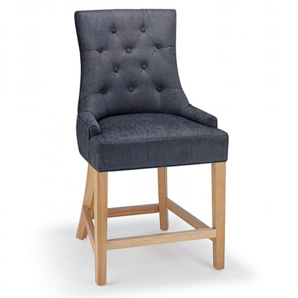 Rochjo Fabric Wooden Kitchen Bar Stool - Charcoal
