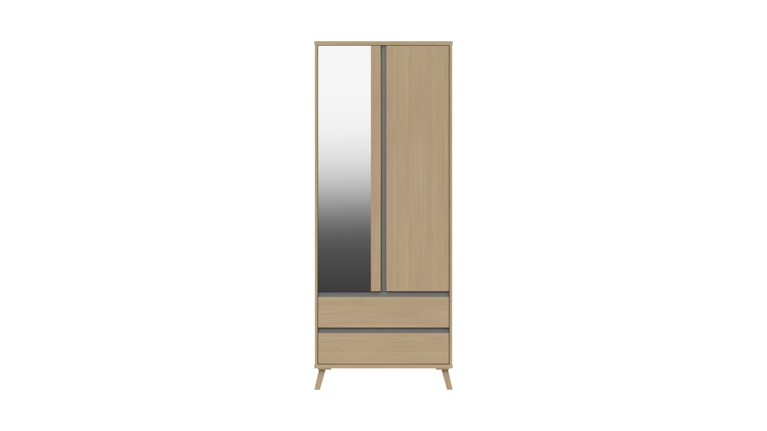 Tamarine Two Door Two Draw Mirror Wardrobe - Natural Oak