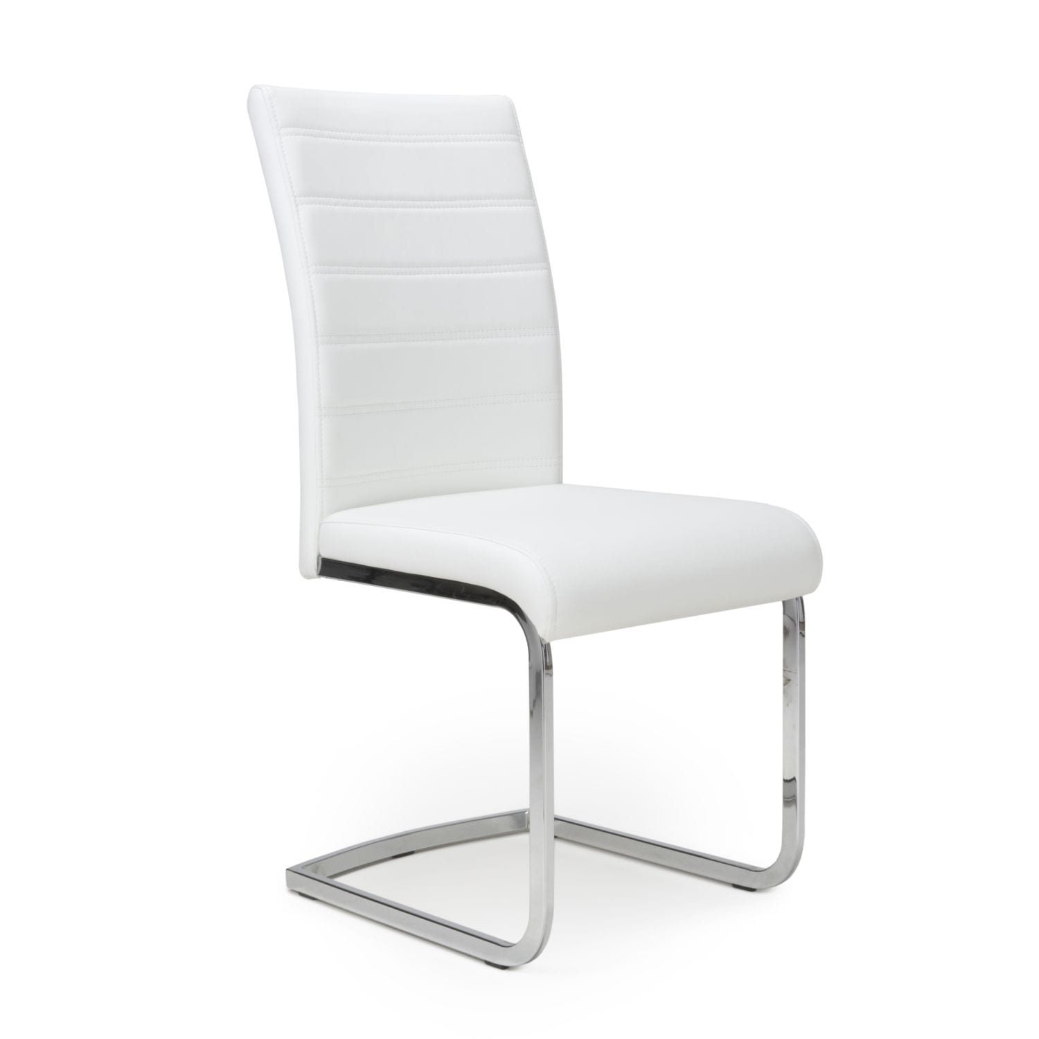 Kally Leather Effect White Chair