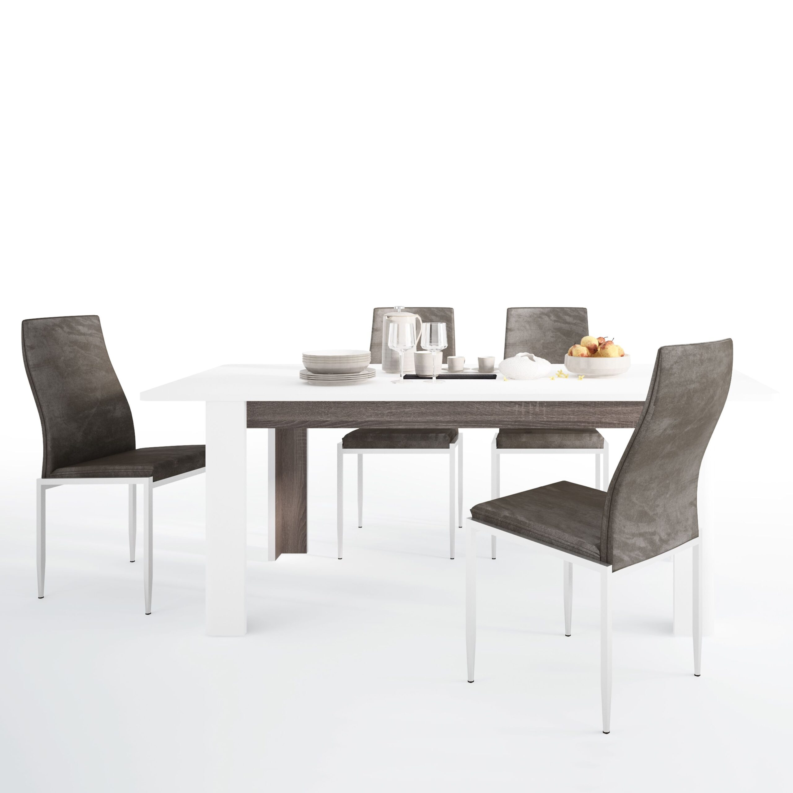 Seals Dining set package Seals Living Extending Dining Table + 6 Lillie High Back Chair Dark Brown
