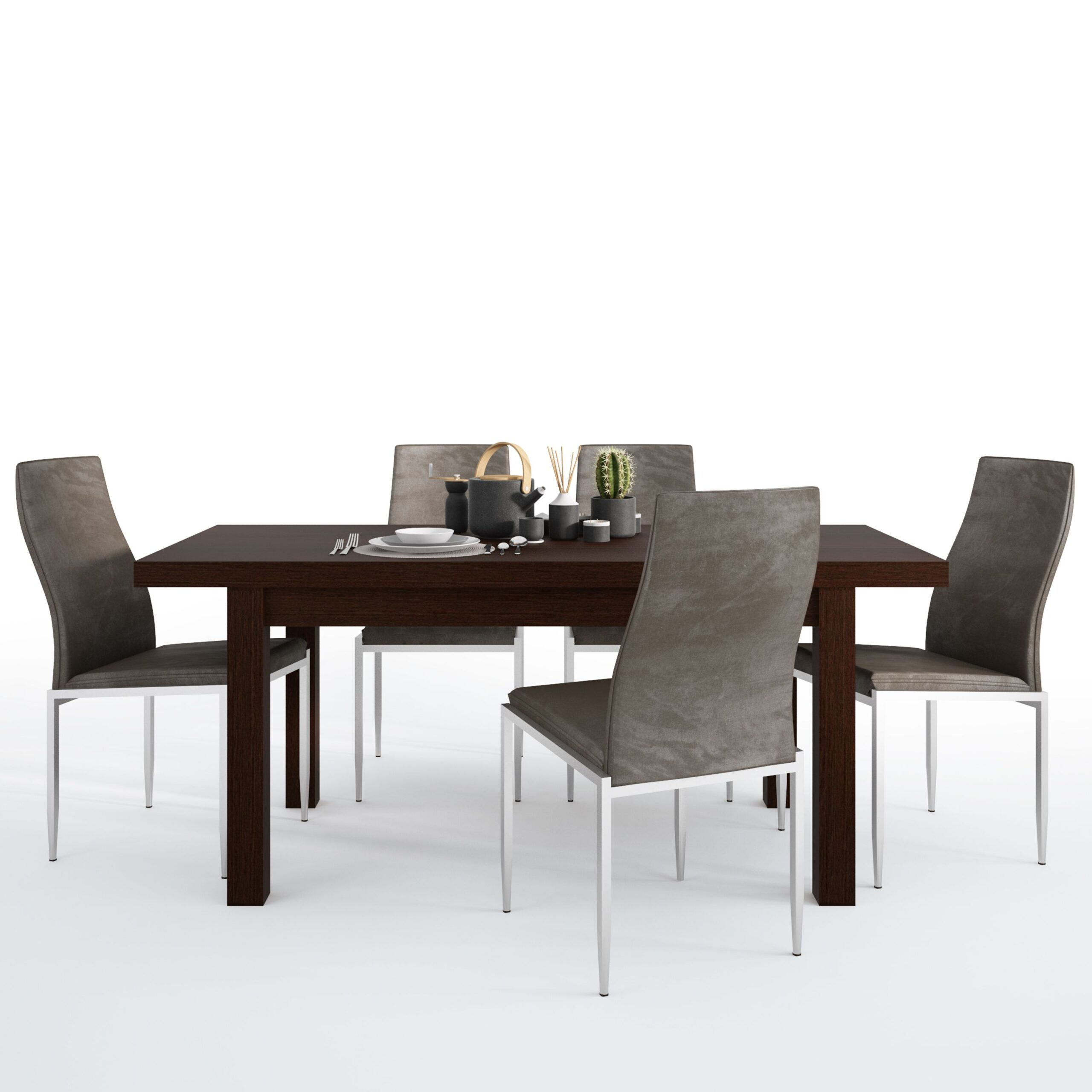 Jello Dining set package Jello Extending Dining Table in Dark Mahogany + 4 Lillie High Back Chair Dark Brown
