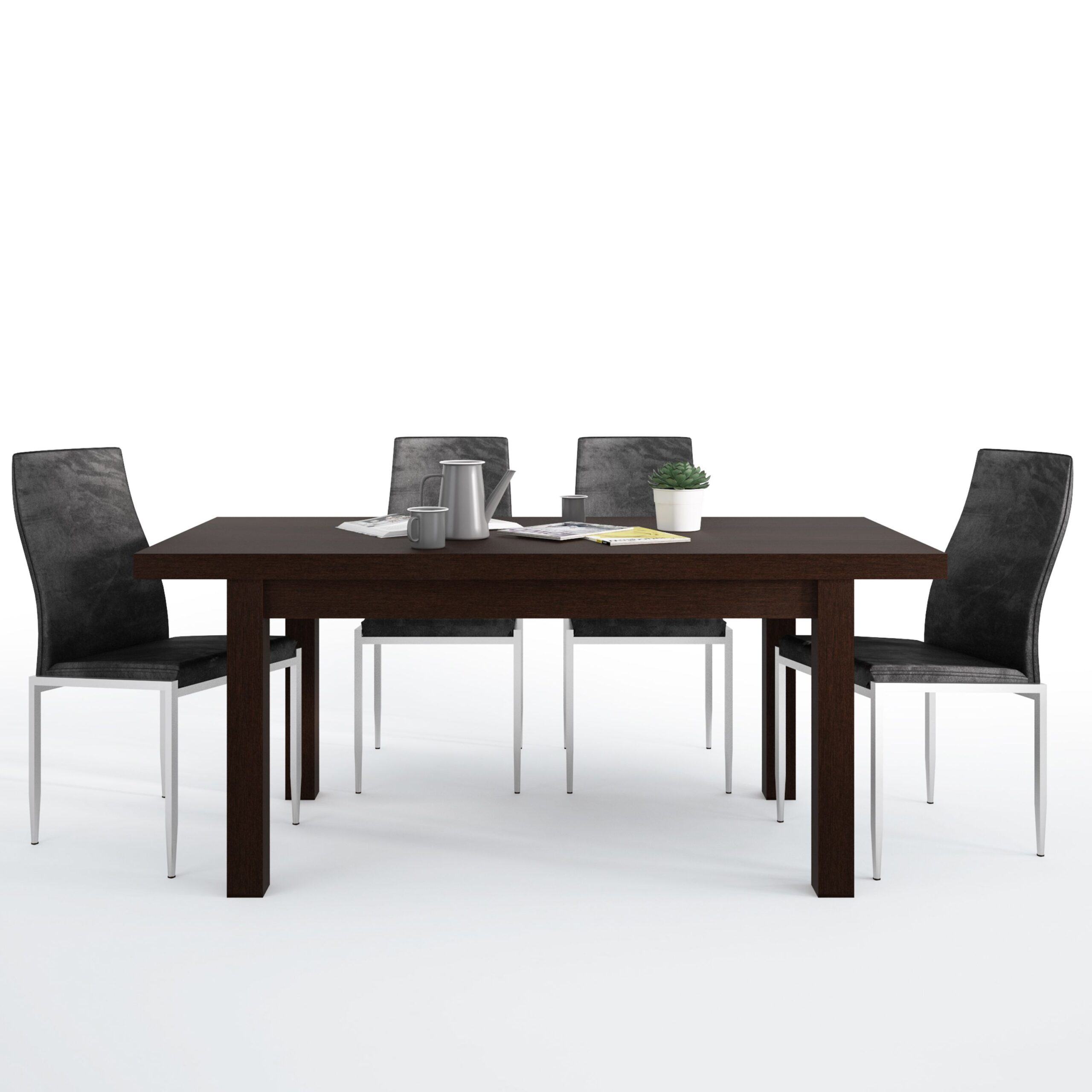 Jello Dining set package Jello Extending Dining Table in Dark Mahogany + 4 Lillie High Back Chair Black