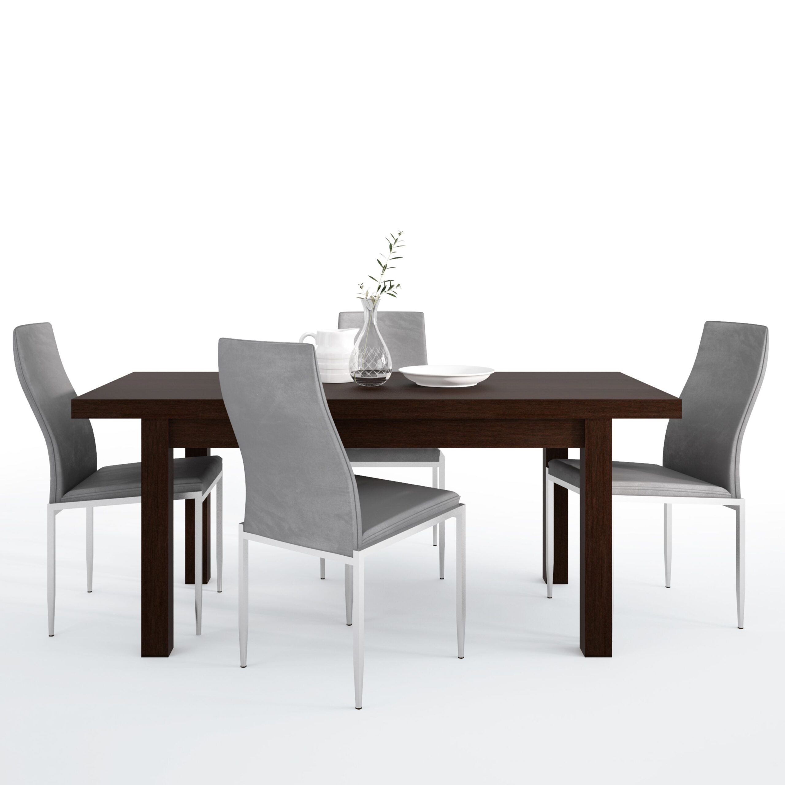 Jello Dining set package Jello Extending Dining Table in Dark Mahogany + 4 Lillie High Back Chair Grey