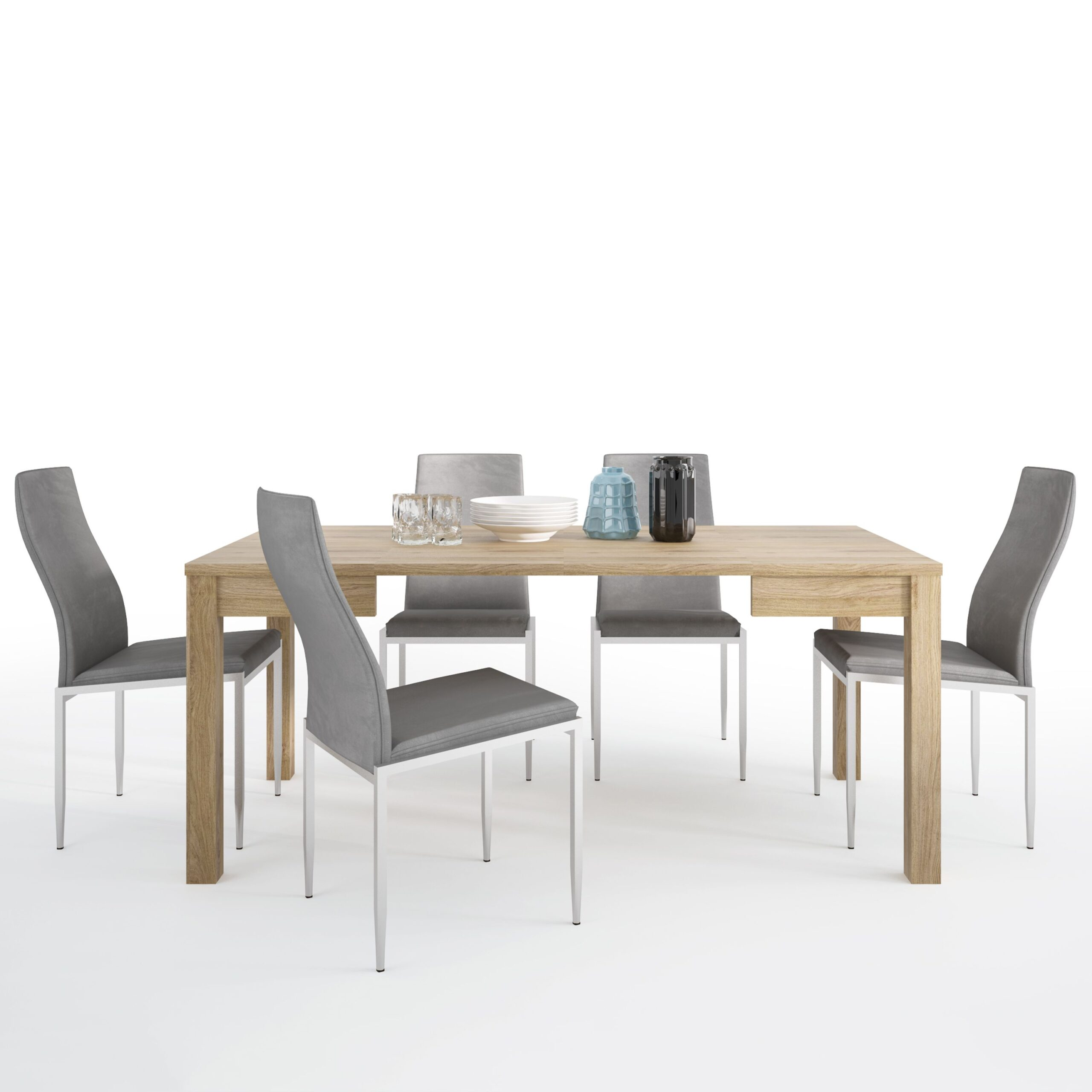 TiaMaria Dining set package TiaMaria Extending Dining Table + 6 Lillie High Back Chair Grey.