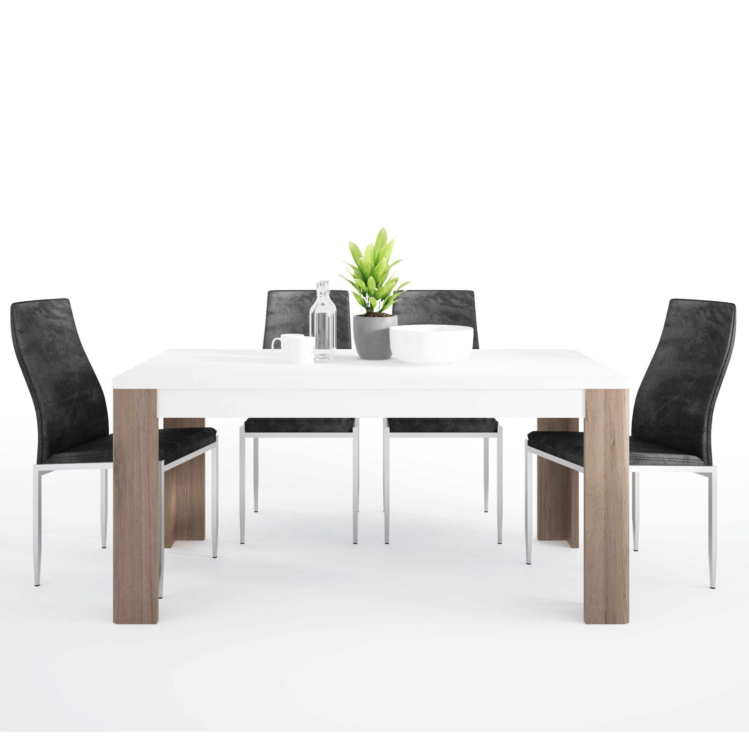 Canada Dining set package Canada 160 cm Dining Table + 4 Lillie High Back Chair Black.
