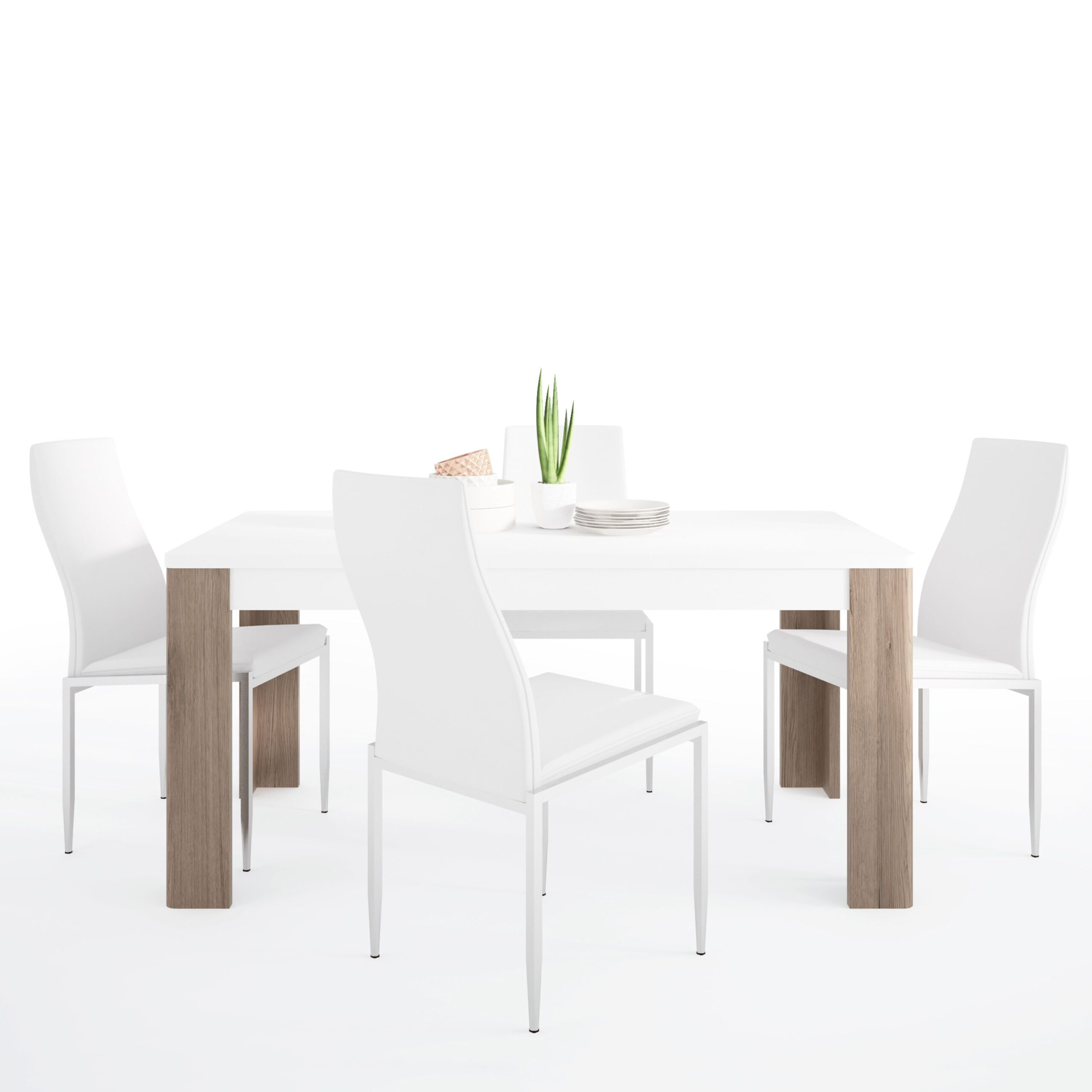 Canada Set Package Canada 160 Cm Table + 6 Lillie High Chair White.