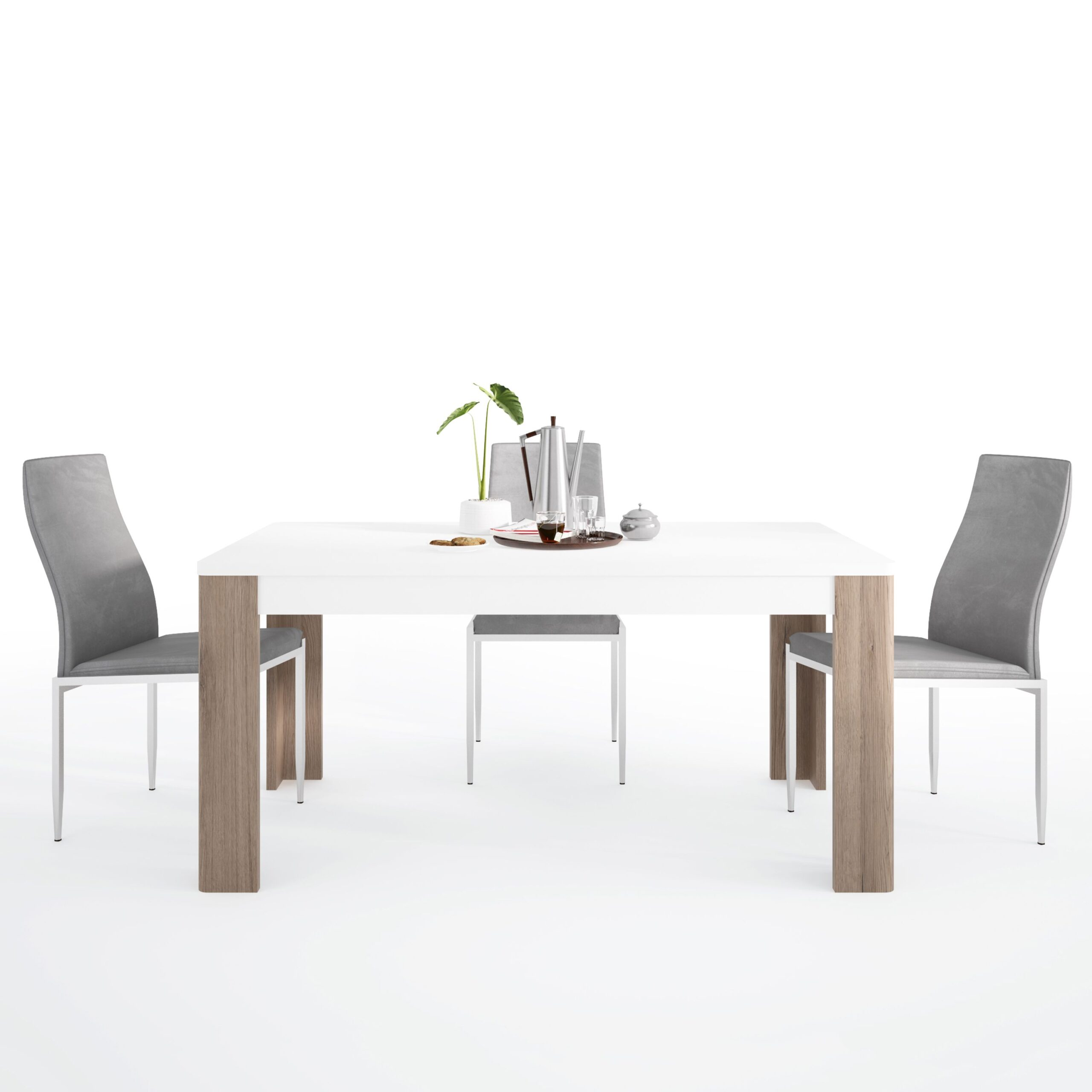Canada Dining set package Canada 160 cm Dining Table + 6 Lillie High Back Chair Grey.