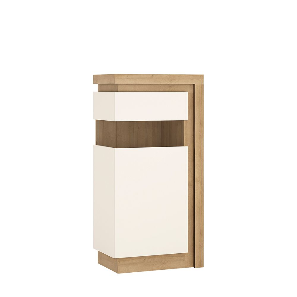 Lion White Narrow Display Cabinet (Lhd) 123.6Cm High (Including Led Lighting)