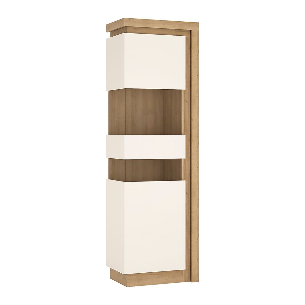 Lion White Tall Narrow Display Cabinet (Lhd) (Including Led Lighting)
