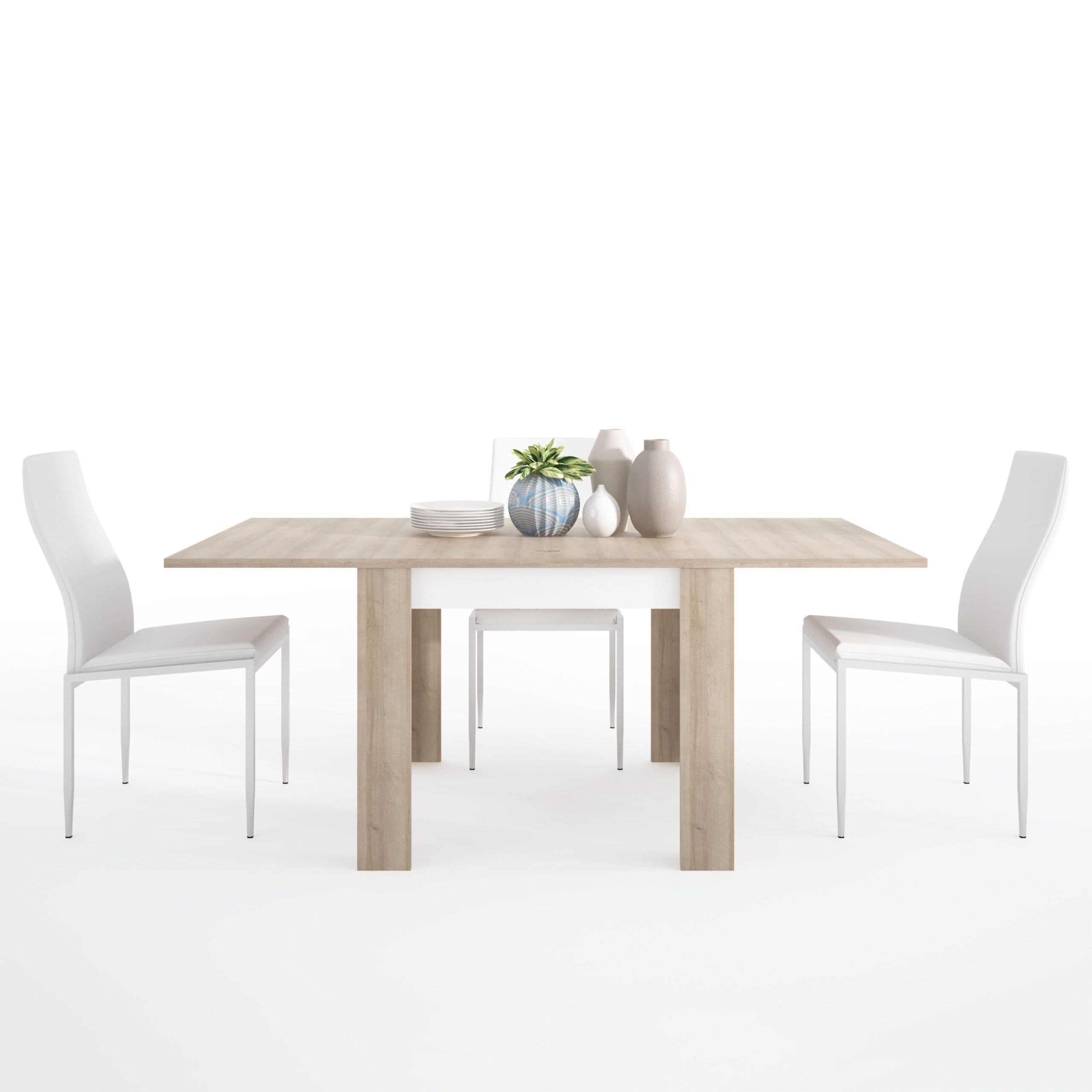 Lion Set Small Extending Table 90/180Cm + 6 Lillie High Chair White.