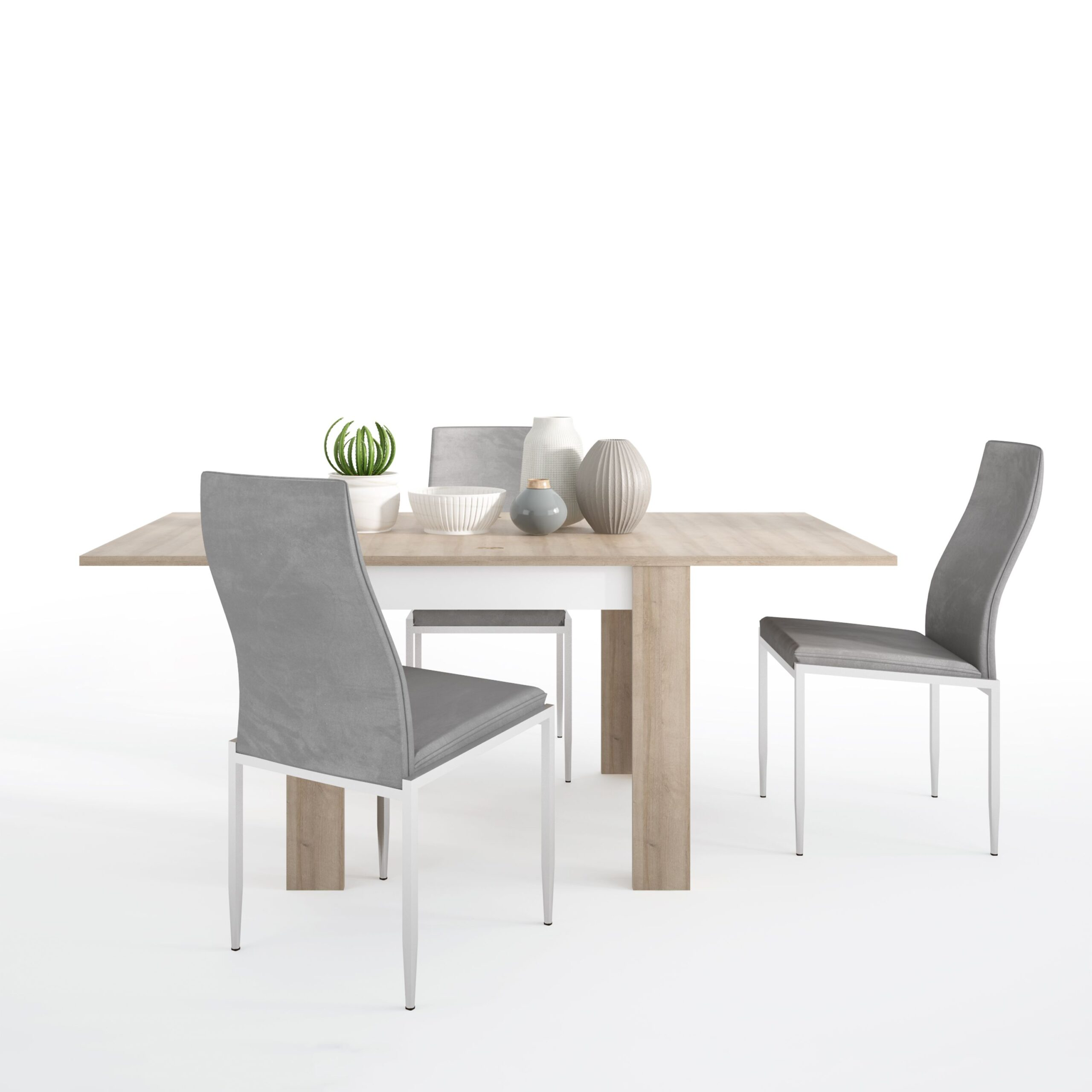 Lion Dining set package Lion Small extending dining table 90/180cm + 6 Lillie High Back Chair Grey.