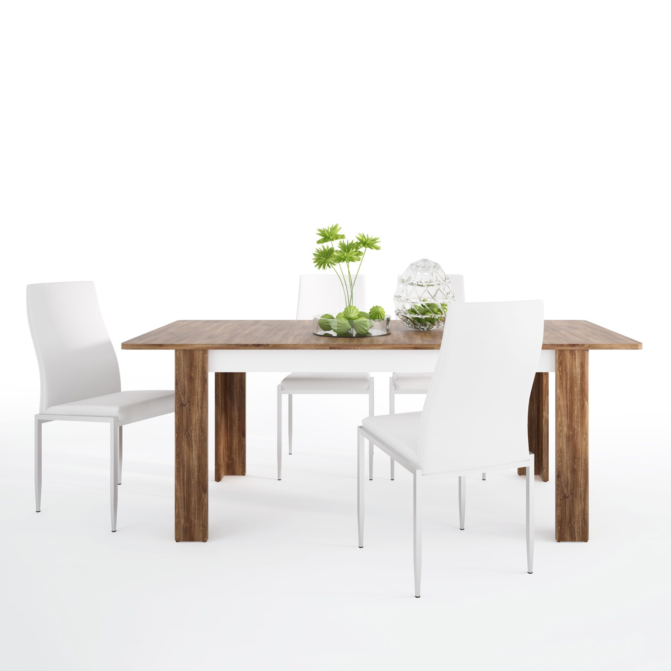 Delly Dining set package Delly extending dining table + 4 Lillie High Back Chair White.