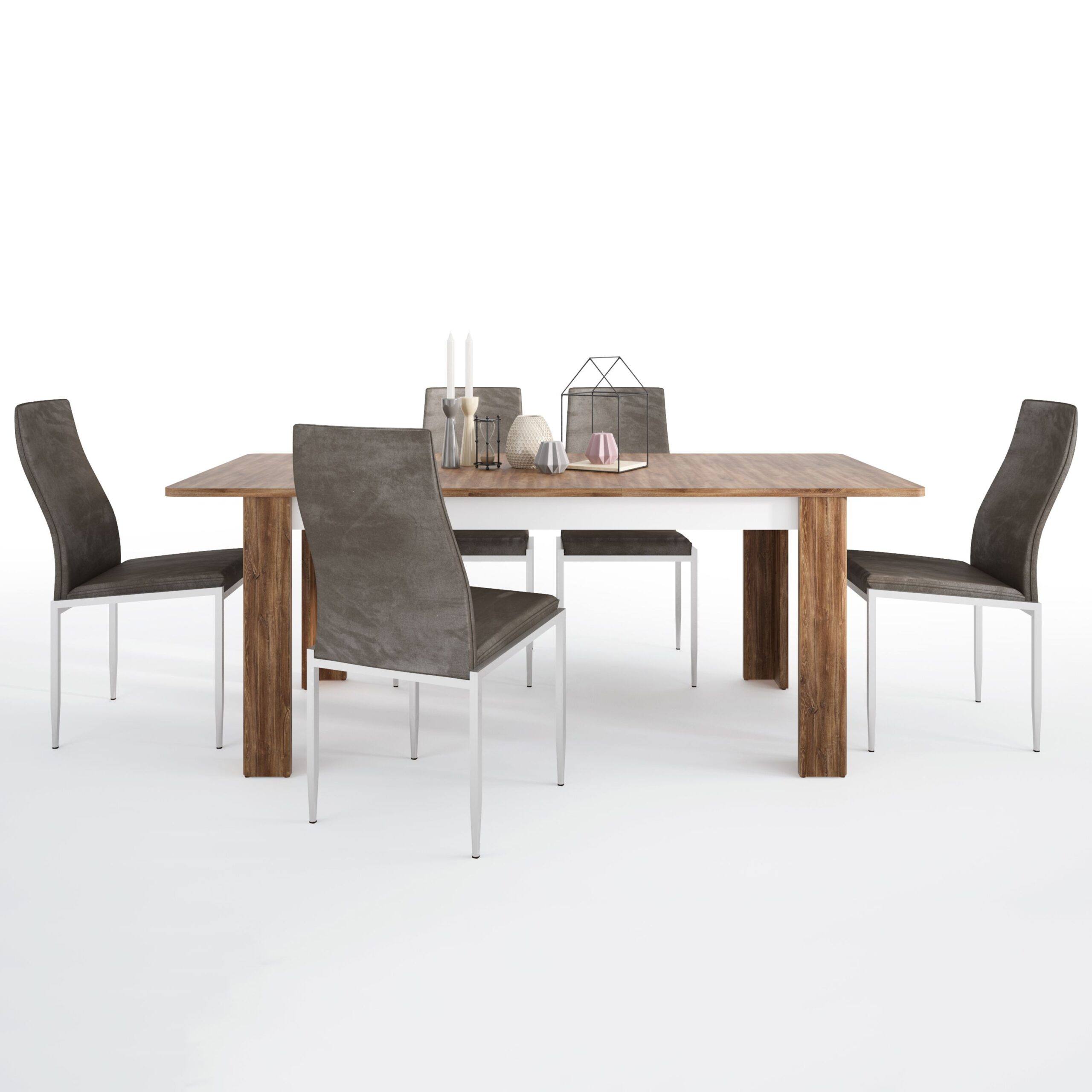 Delly Dining set package Delly extending dining table + 4 Lillie High Back Chair Dark Brown.