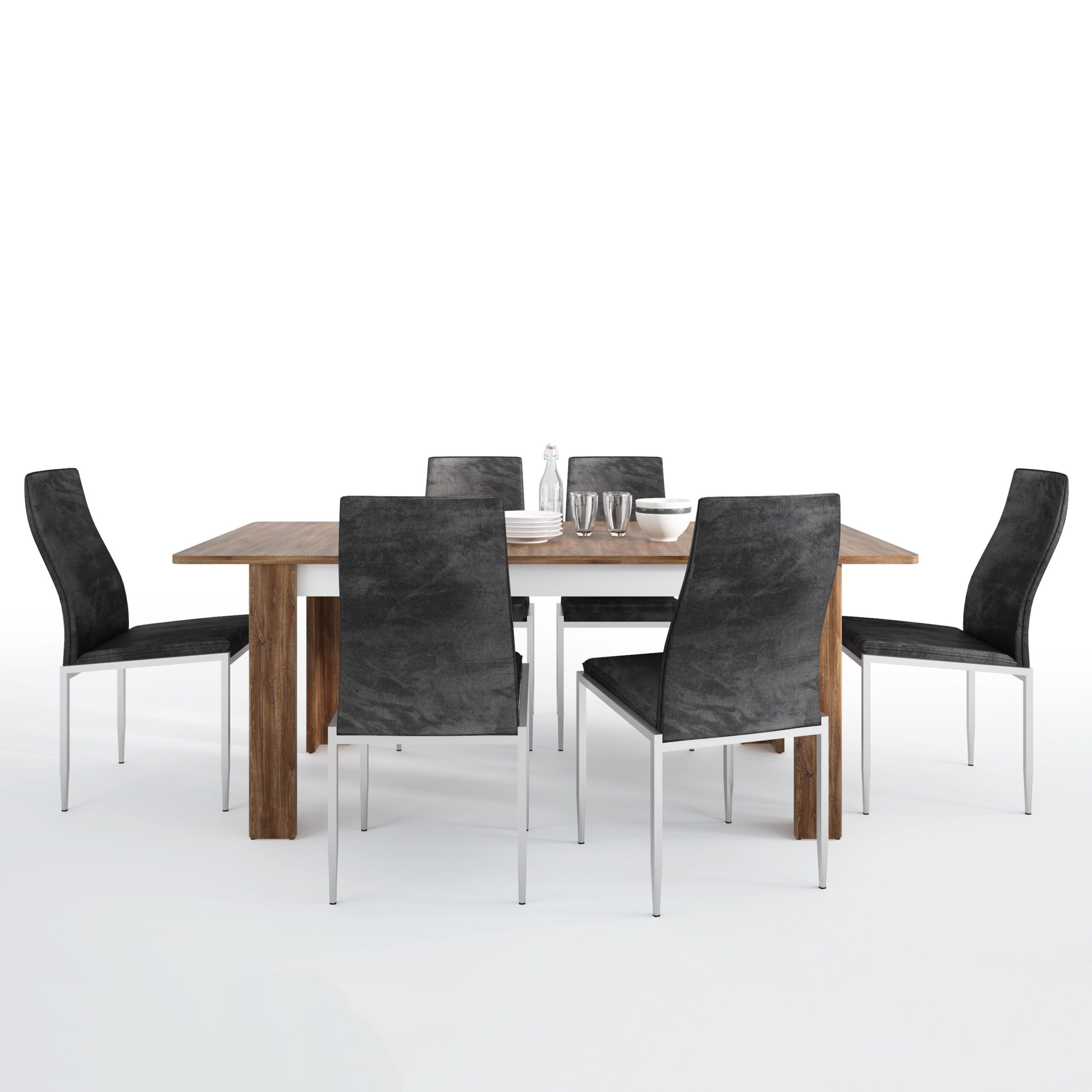 Delly Dining set package Delly extending dining table + 4 Lillie High Back Chair Black.