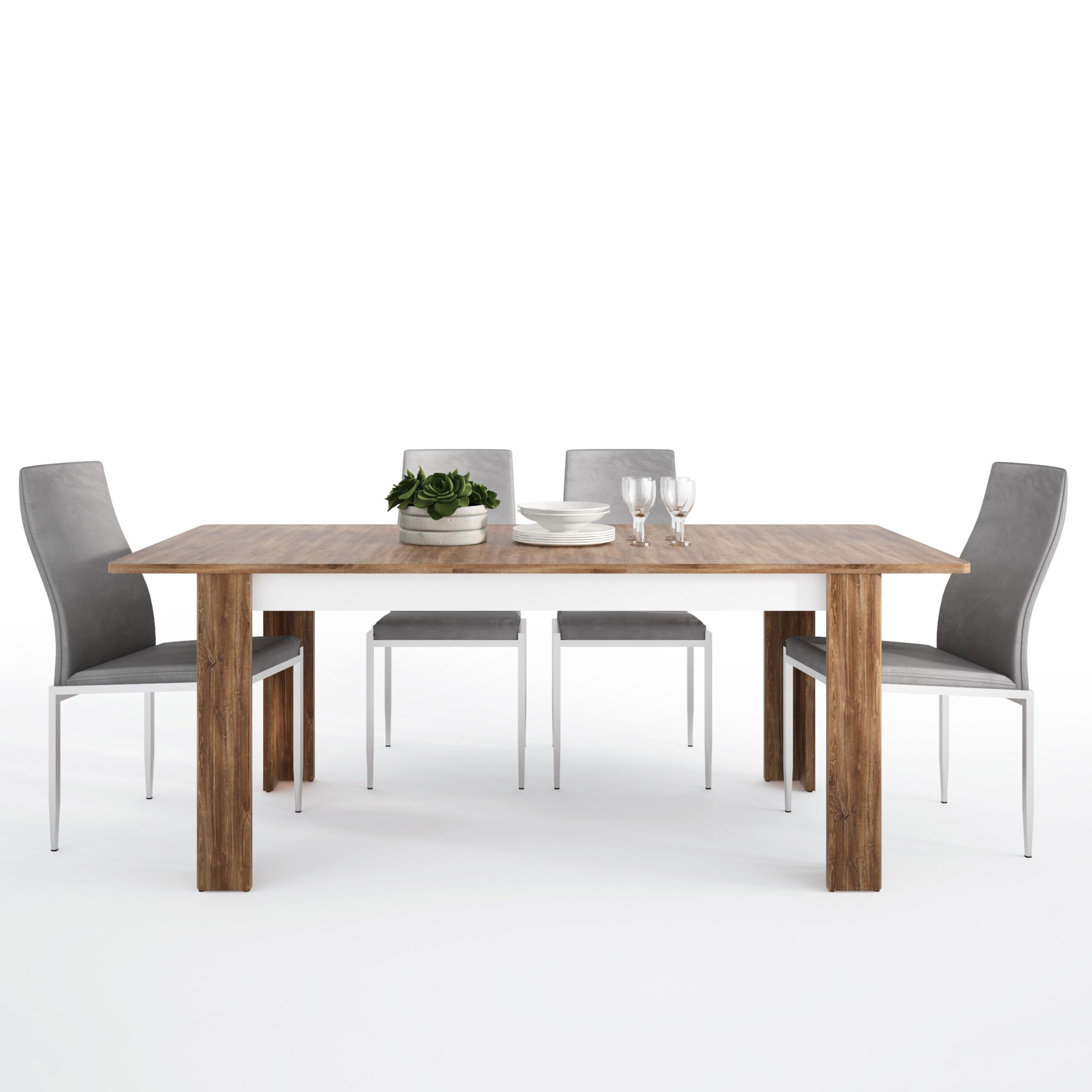 Delly Dining set package Delly extending dining table + 4 Lillie High Back Chair Grey.