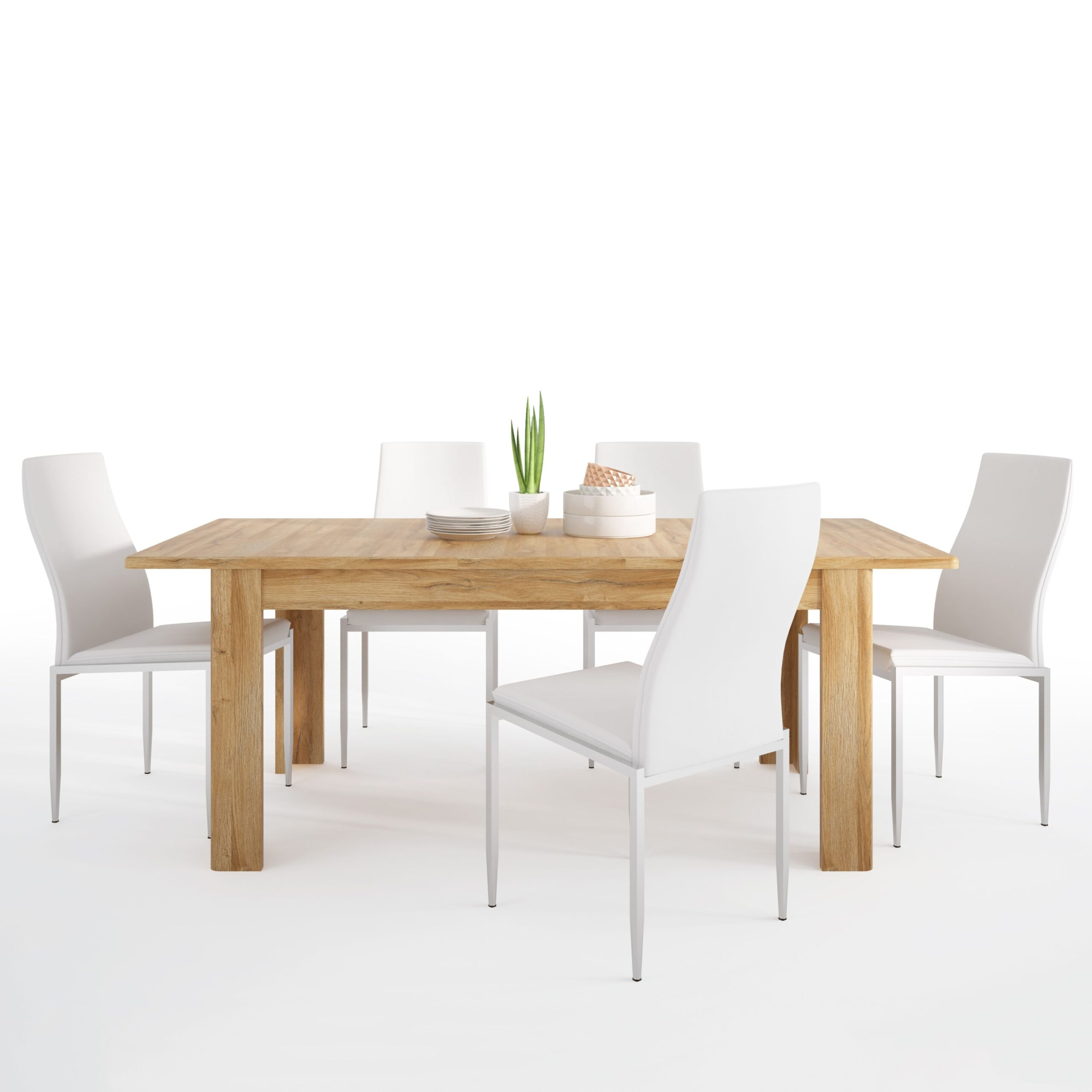 Bold Dining set package Bold Extending dining table in Grandson Oak + 4 Lillie High Back Chair White.