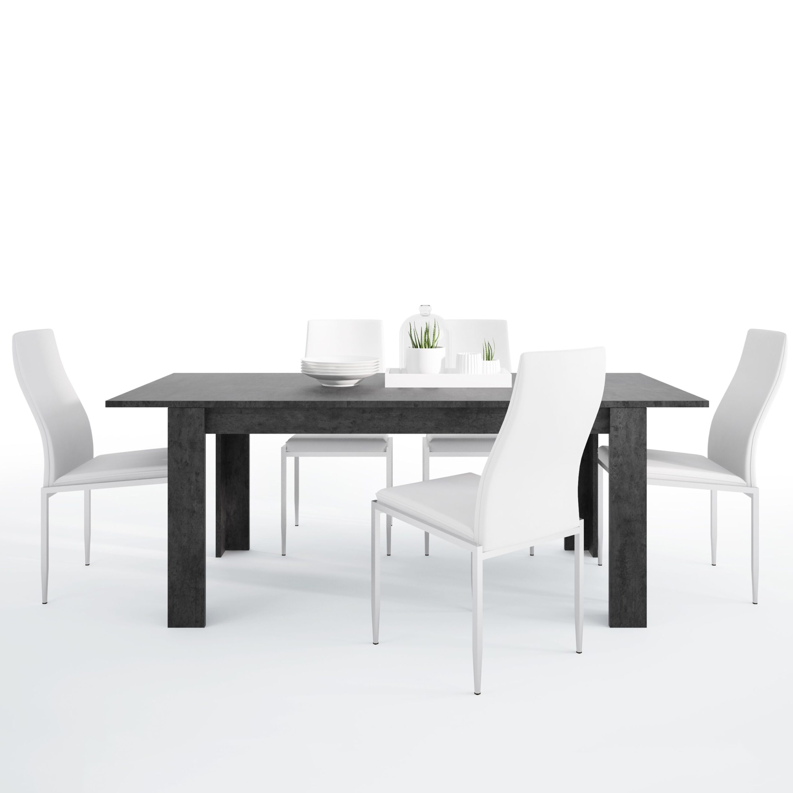 Gerzing Dining set package Gerzing Dining table + 4 Lillie High Back Chair White.