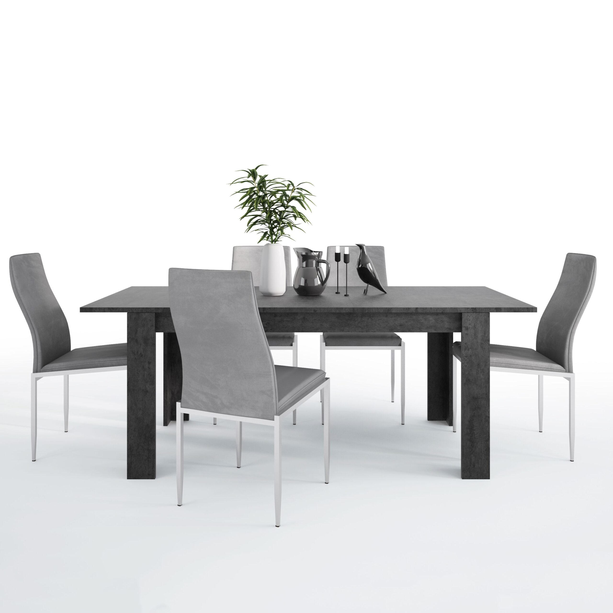 Gerzing Dining set package Gerzing Dining table + 4 Lillie High Back Chair Grey.