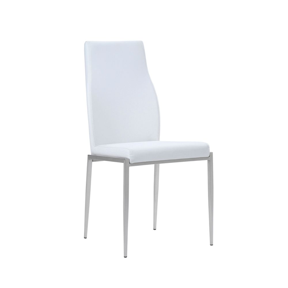 Lillie High Back Chair White Leather