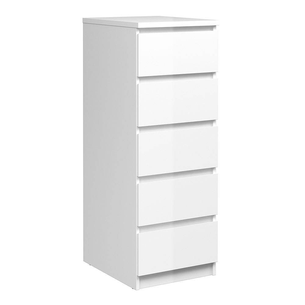 Saian Narrow Chest Of 5 Drawers In White High Gloss
