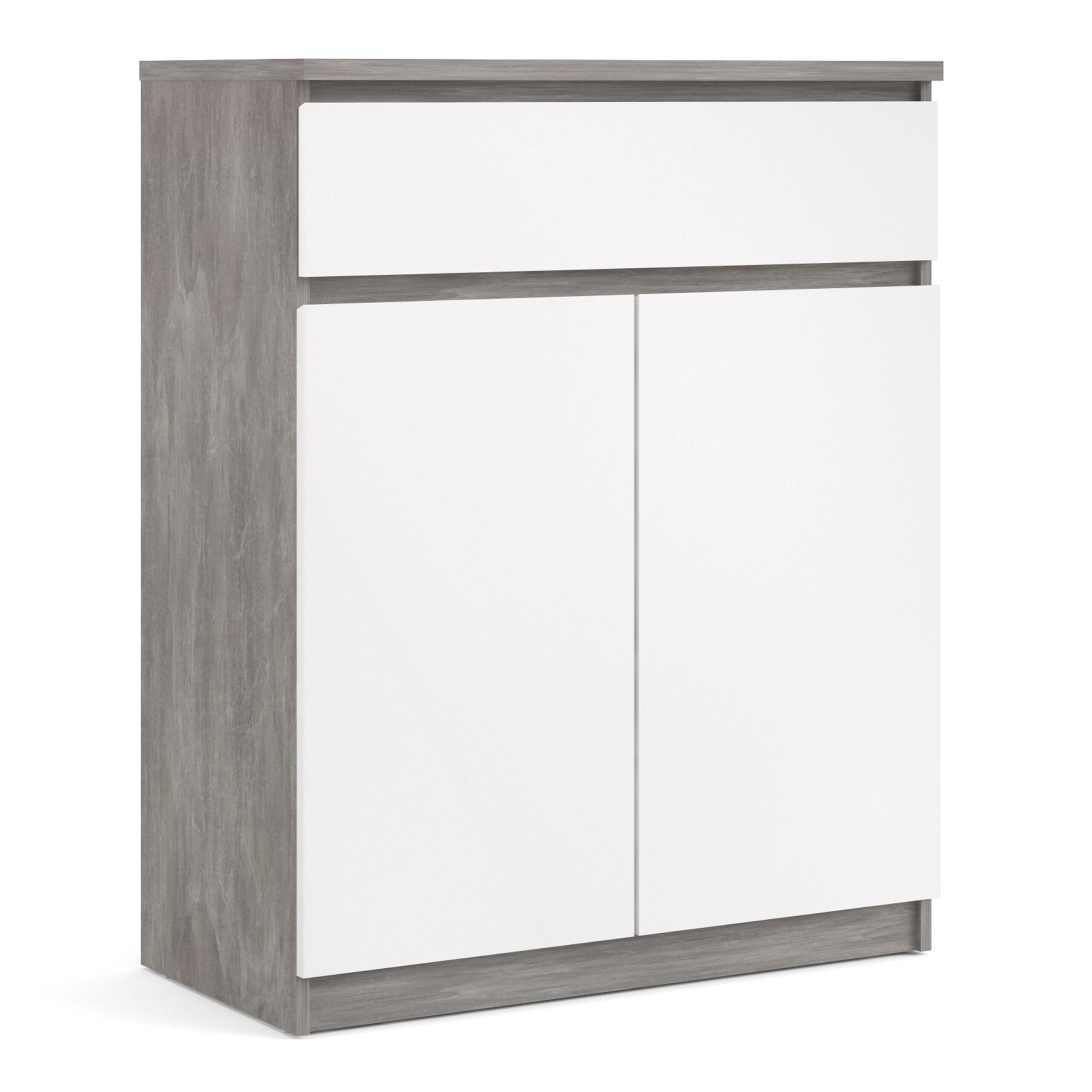 Nati Sideboard - 1 Drawer 2 Doors in Concrete and White High Gloss