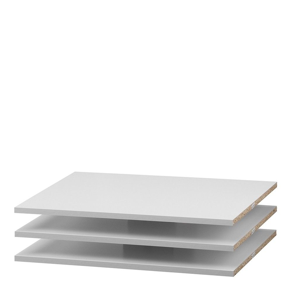 Phillipe Large Set of 3 Shelves - Narrow (for 120cm wardrobe) in White