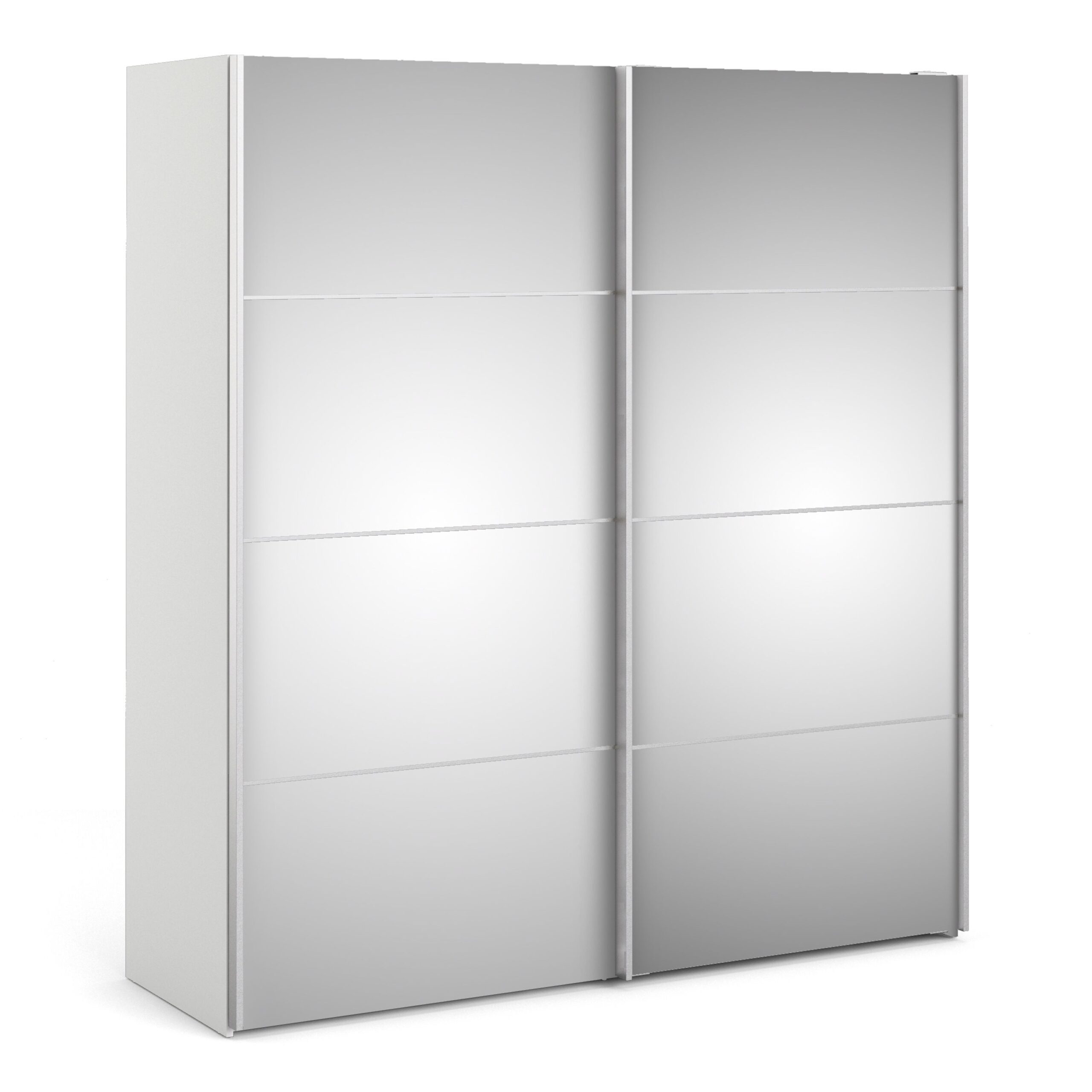 Phillipe Sliding Wardrobe 180cm In White With Mirror Doors With Two Shelves