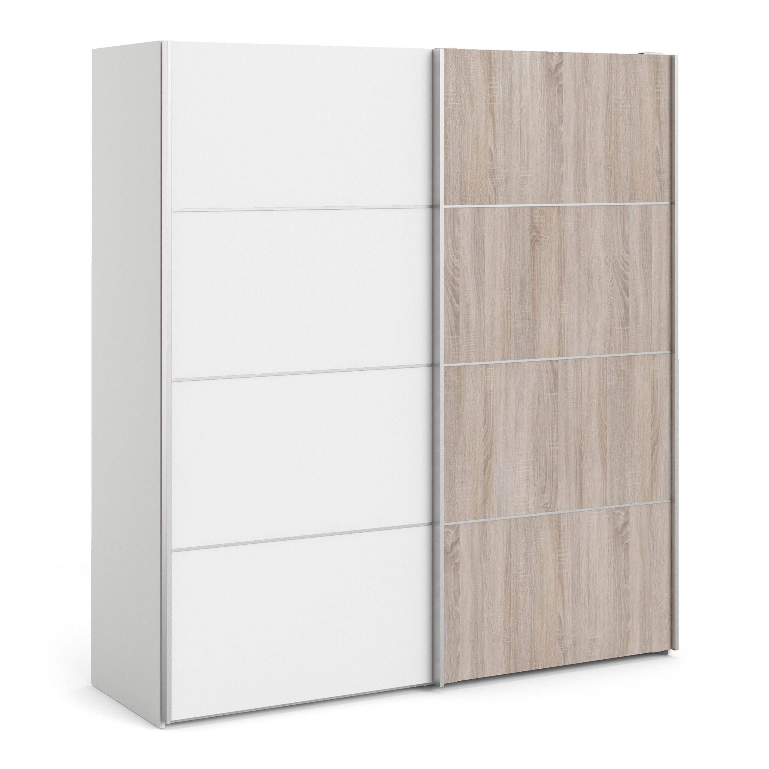 Phillipe Sliding Wardrobe 180cm In White With White And Truffle Oak Doors With Two Shelves