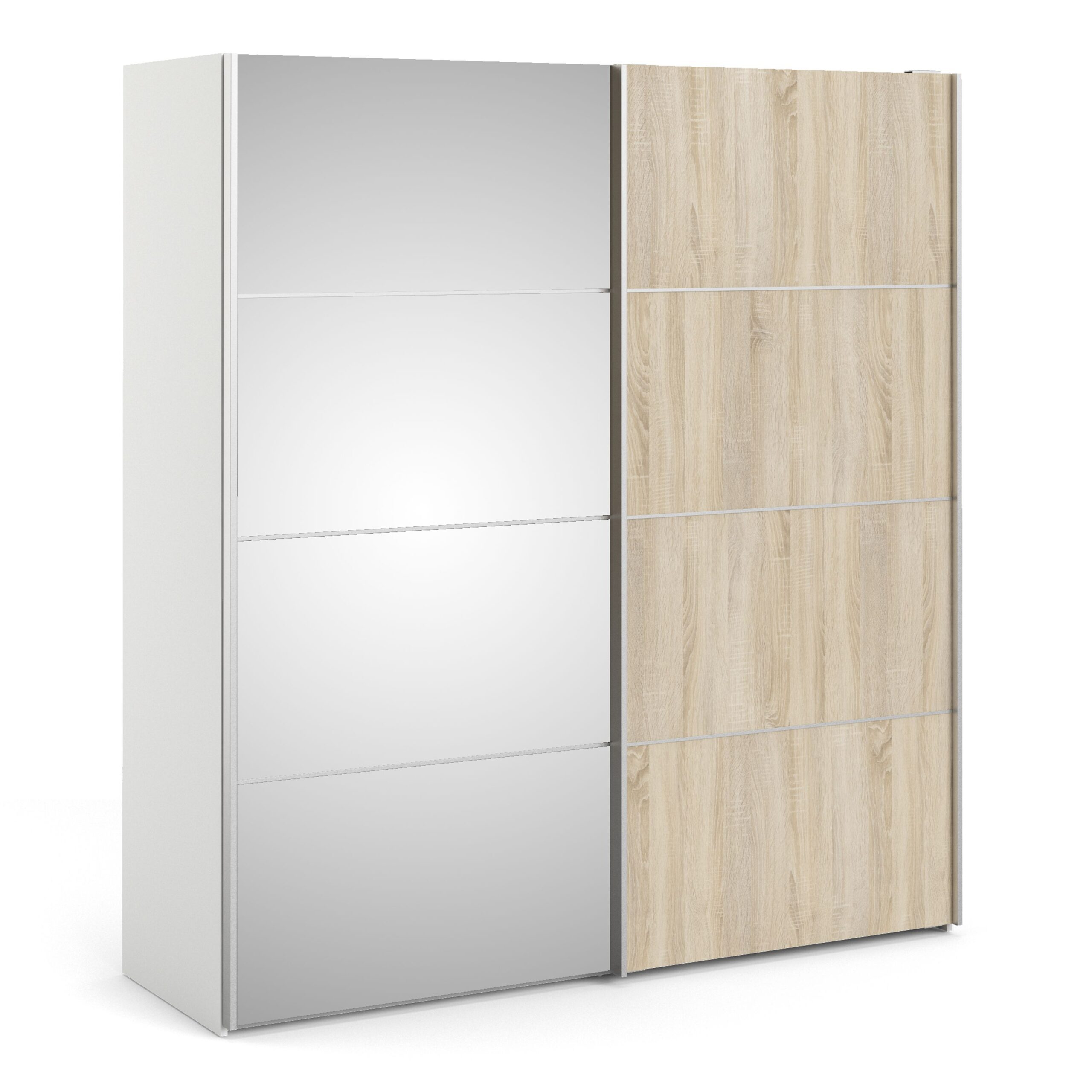 Phillipe Sliding Wardrobe 180cm In White With Oak And Mirror Doors With Five Shelves