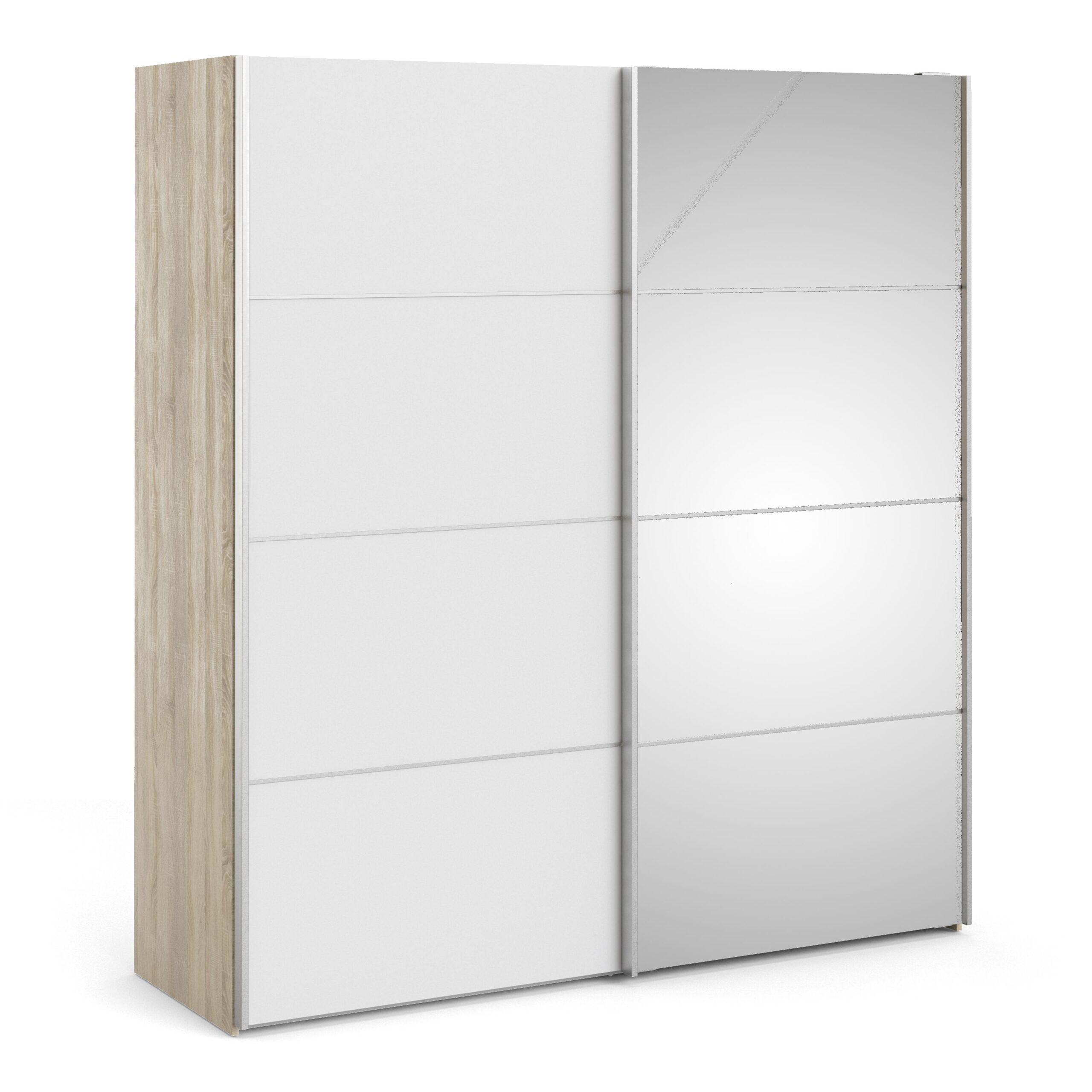 Phillipe Sliding Wardrobe 180cm In Oak With White And Mirror Doors With Five Shelves
