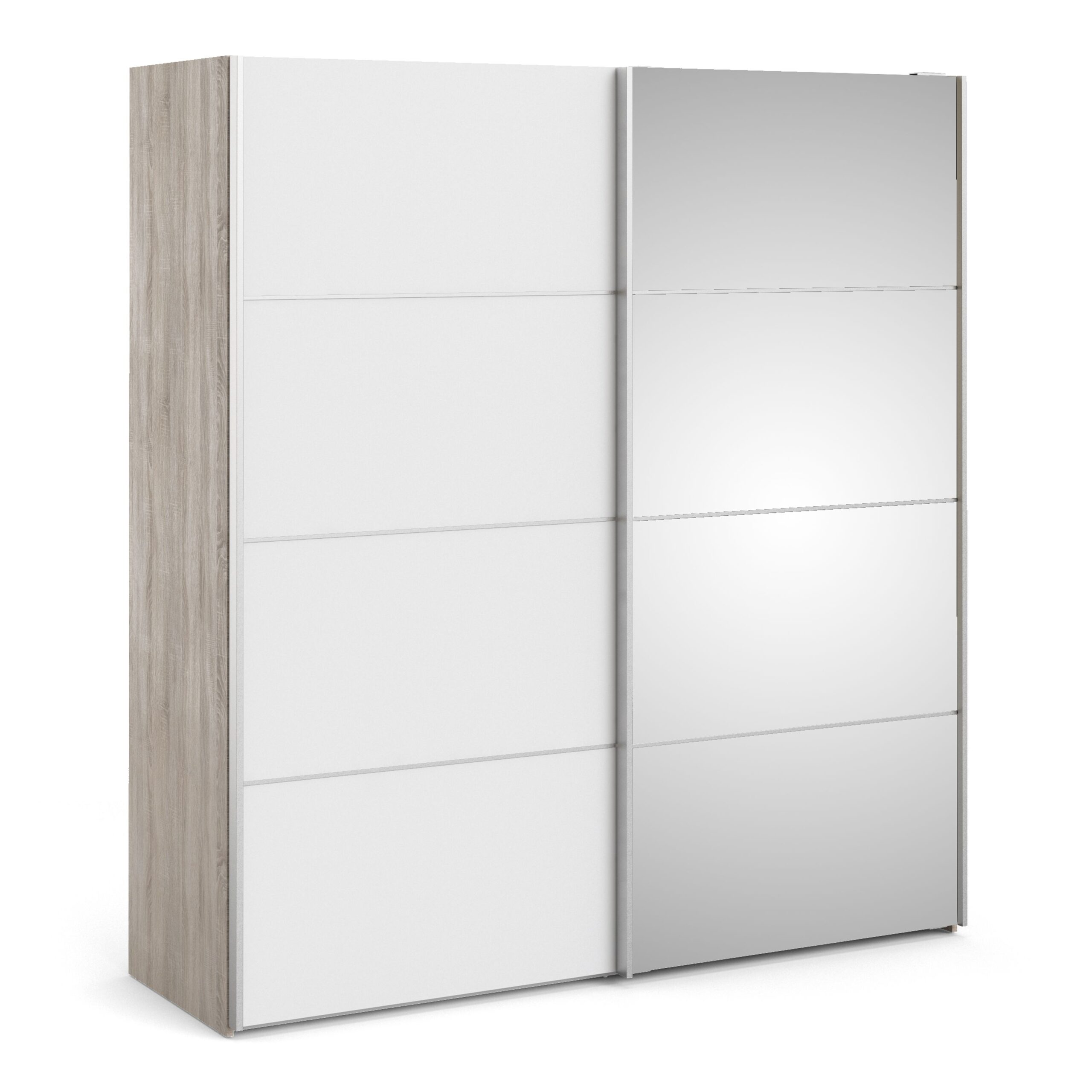 Phillipe Sliding Wardrobe 180cm In Truffle Oak With White And Mirror Doors With Five Shelves