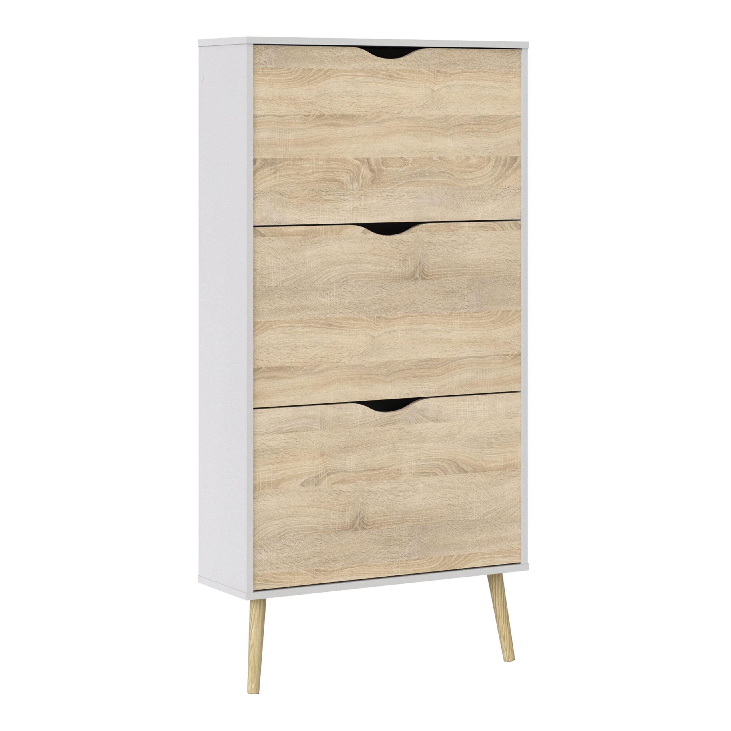 Solo Shoe Cabinet 3 Drawers in White and Oak