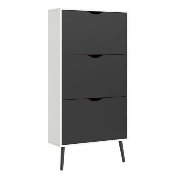 Solo Shoe Cabinet 3 Drawers in White and Black Matt