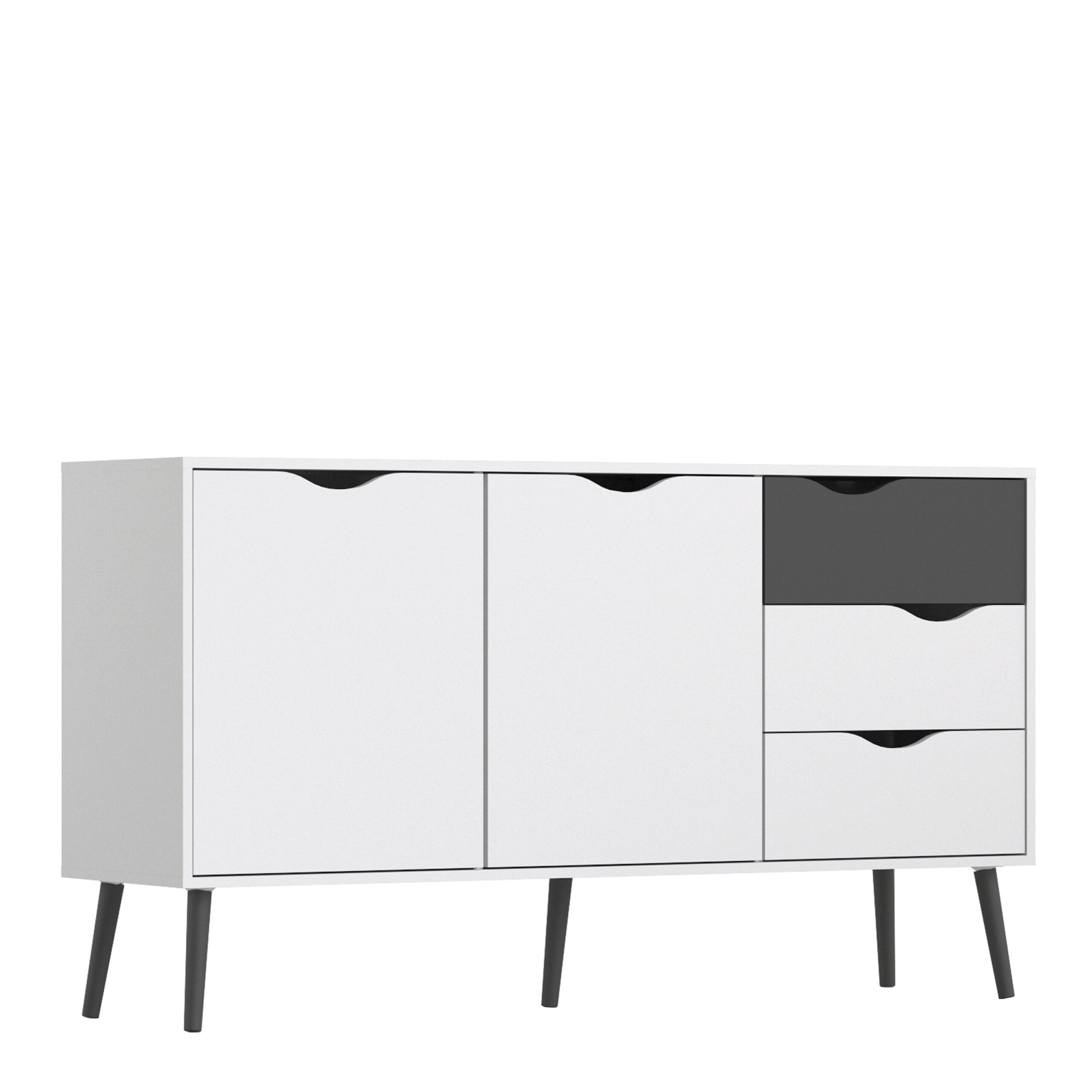Solo Sideboard - Large - 3 Drawers 2 Doors in White and Black Matt