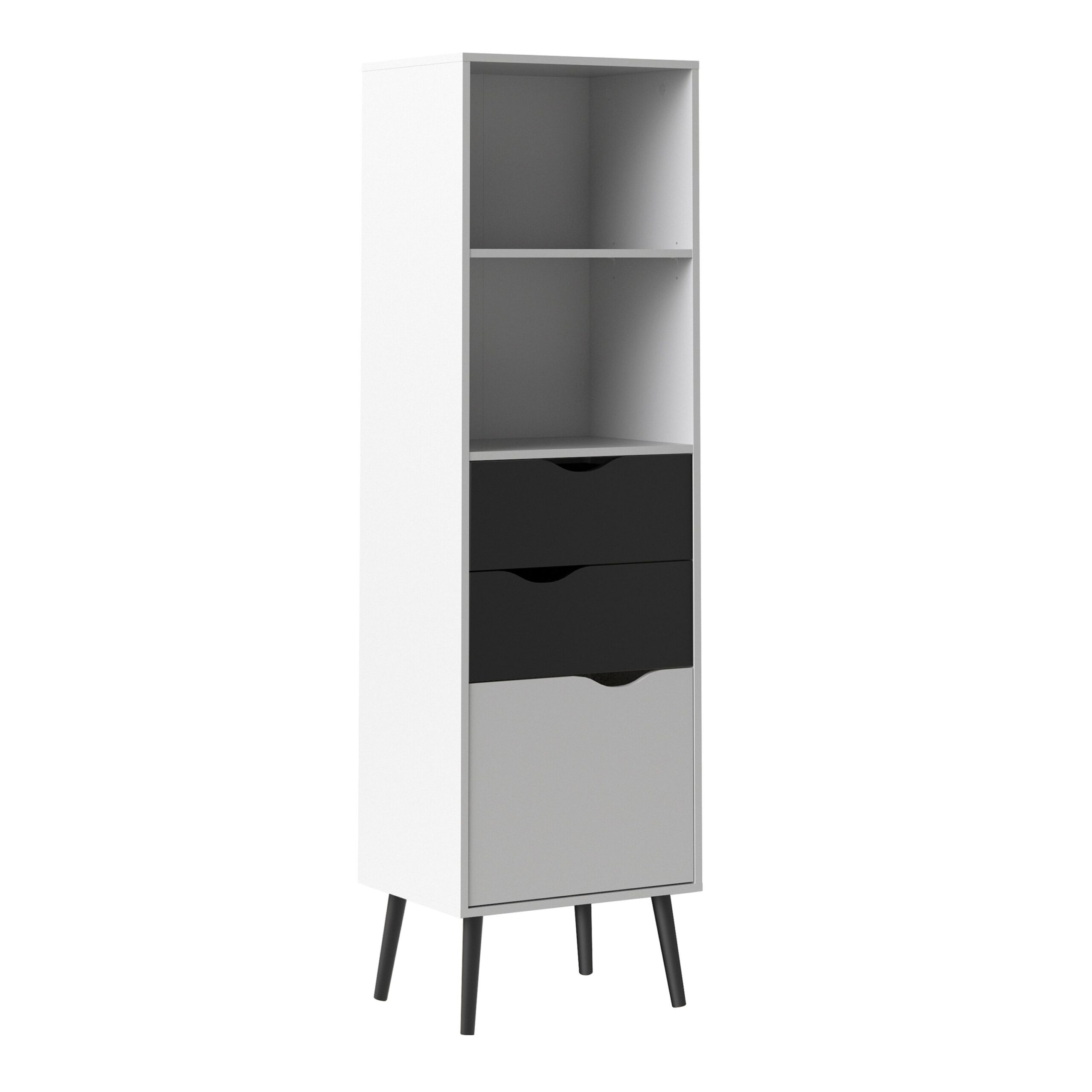 Solo Bookcase 2 Drawers 1 Door in White and Black Matt