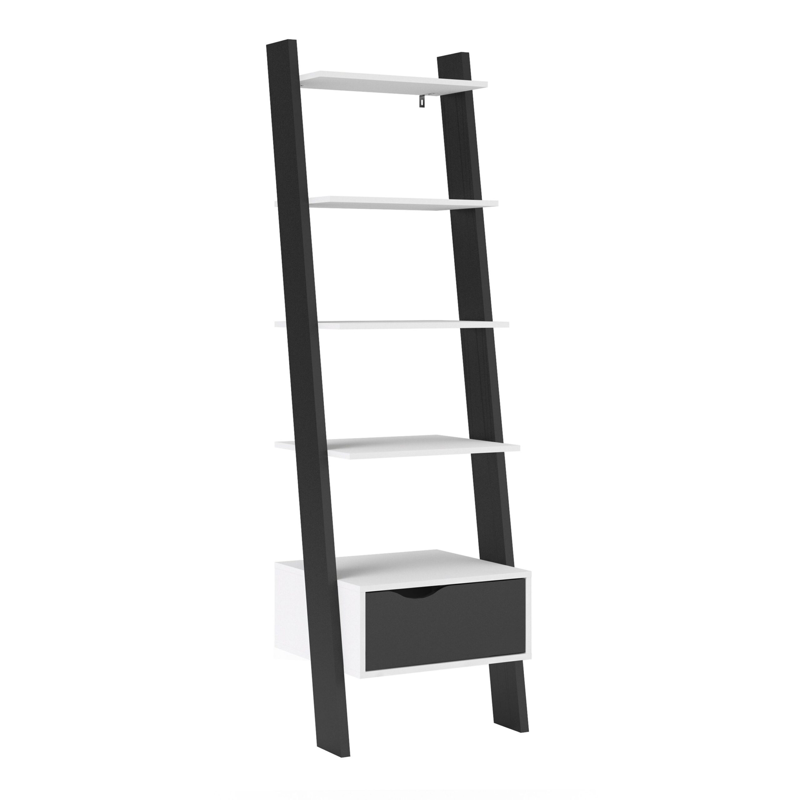 Solo Leaning Bookcase 1 Drawer in White and Black Matt
