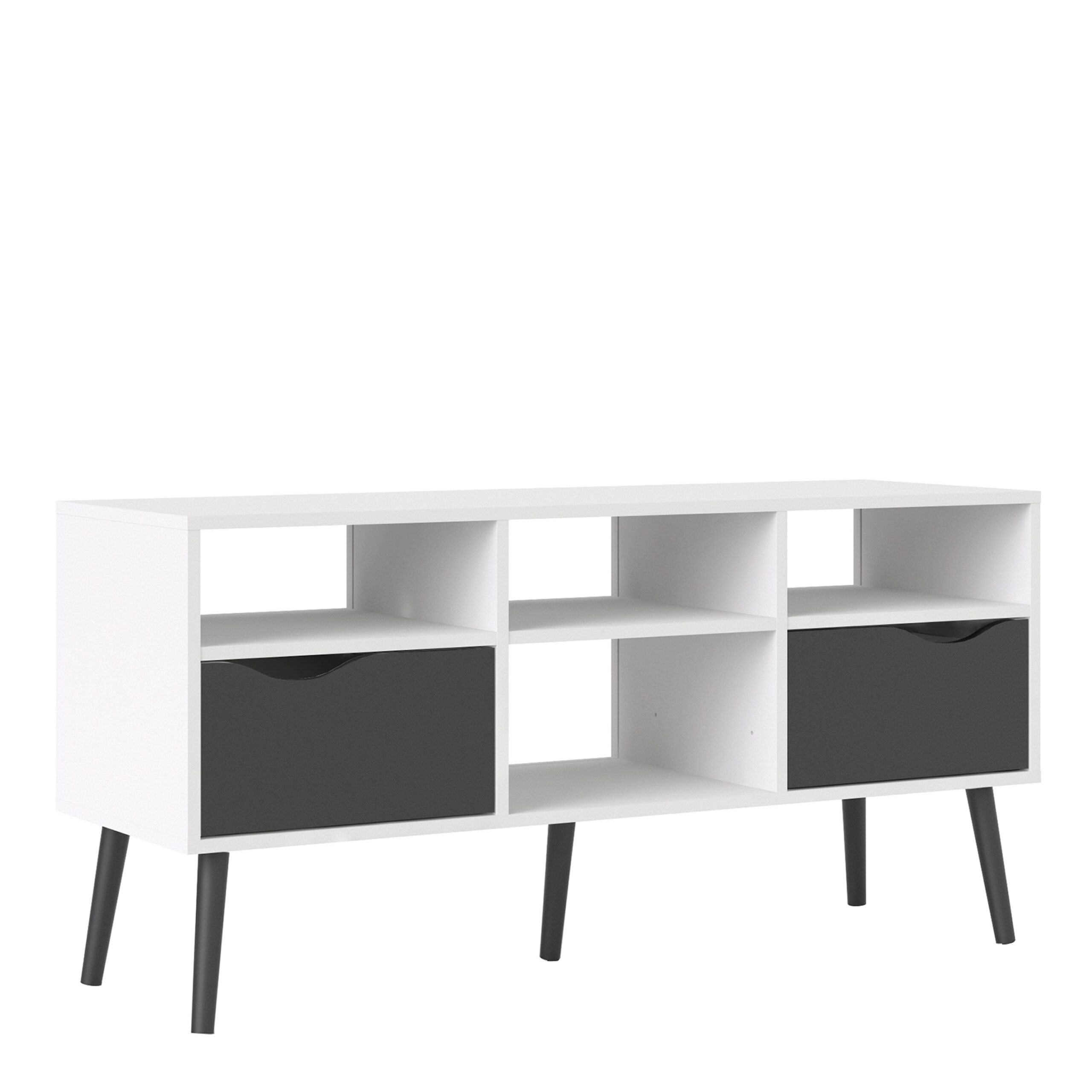 Solo TV Units - Wide - 2 Drawers 4 Shelves in White and Black Matt