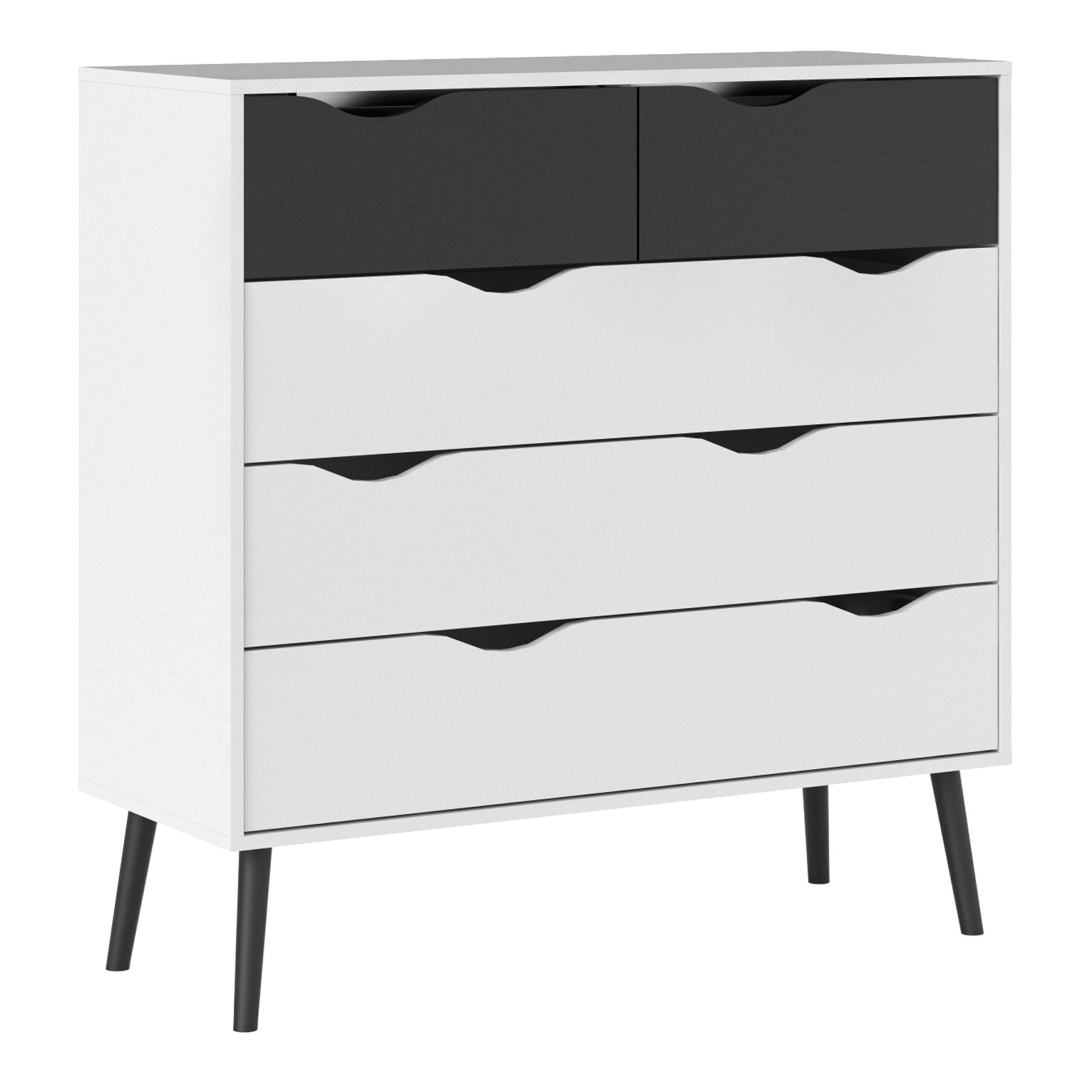 Solo Chest of 5 Drawers (2+3) in White and Black Matt