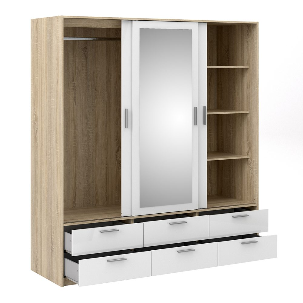 Wardrobe - Oak With White High Gloss