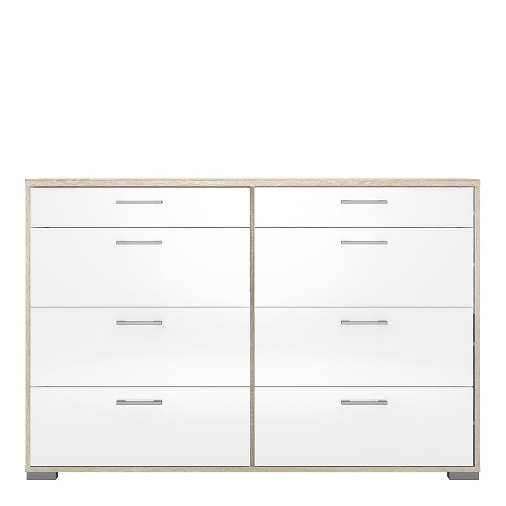 Wide Chest of 8 Drawers (4+4) in Oak with White High Gloss