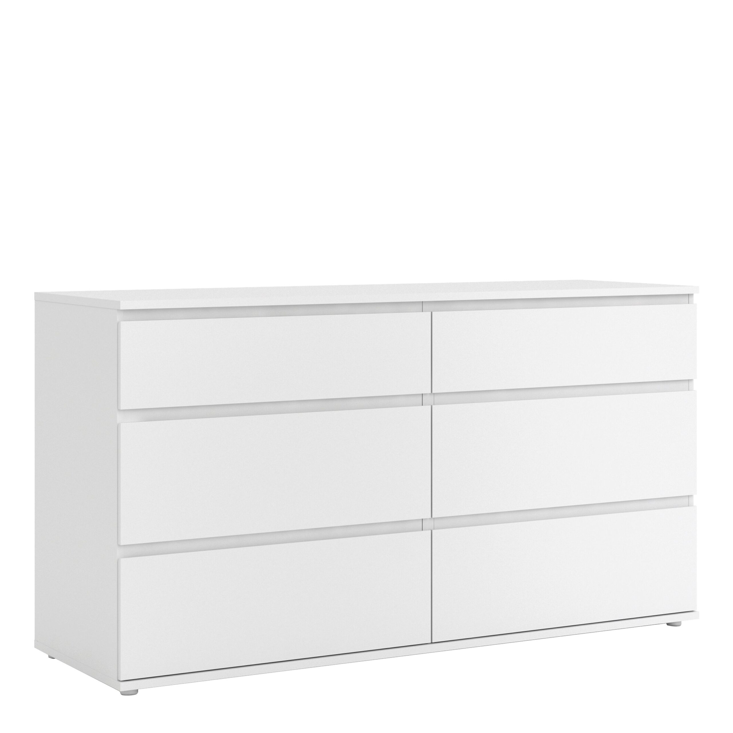 Soyo Wide Chest of 6 Drawers (3+3) in White