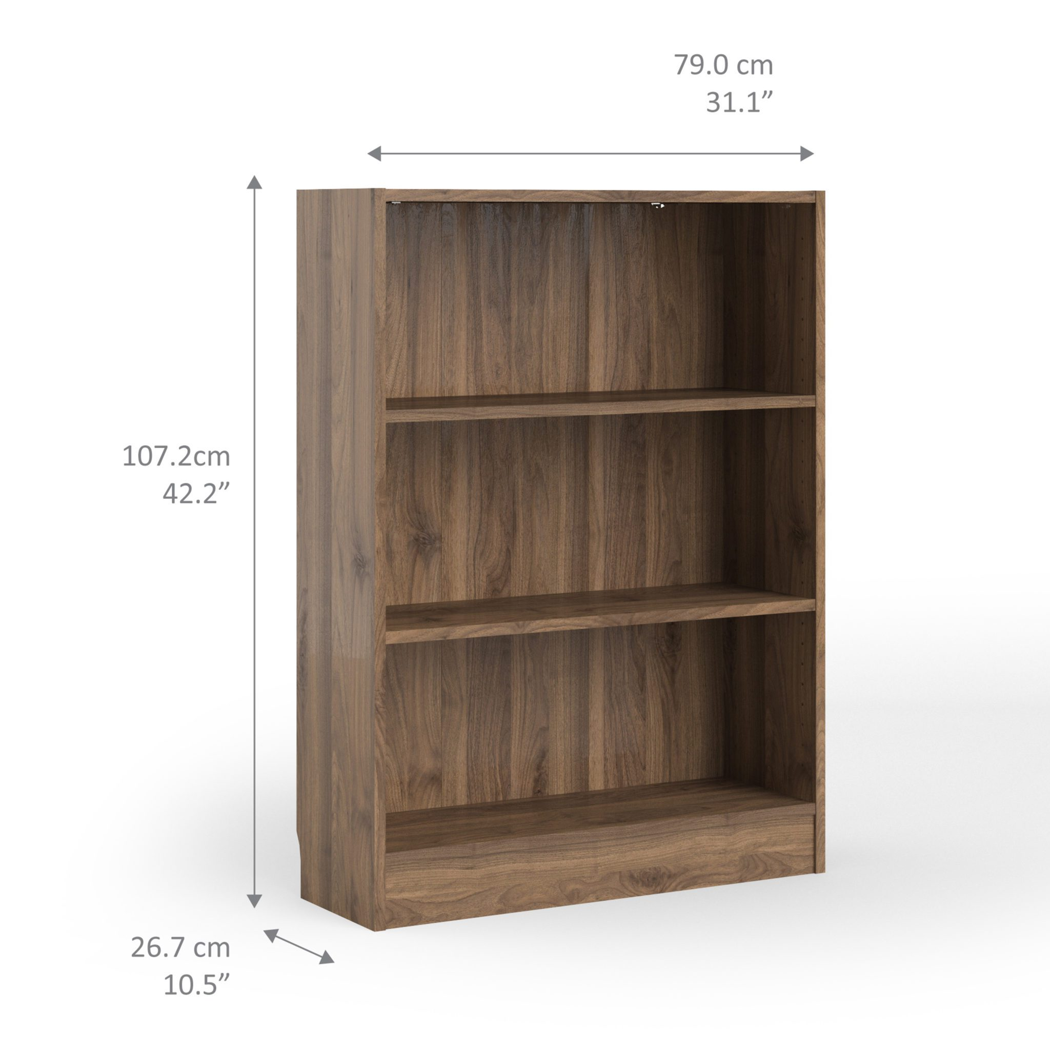 Duday Low Wide Bookcase (2 Shelves) in Walnut