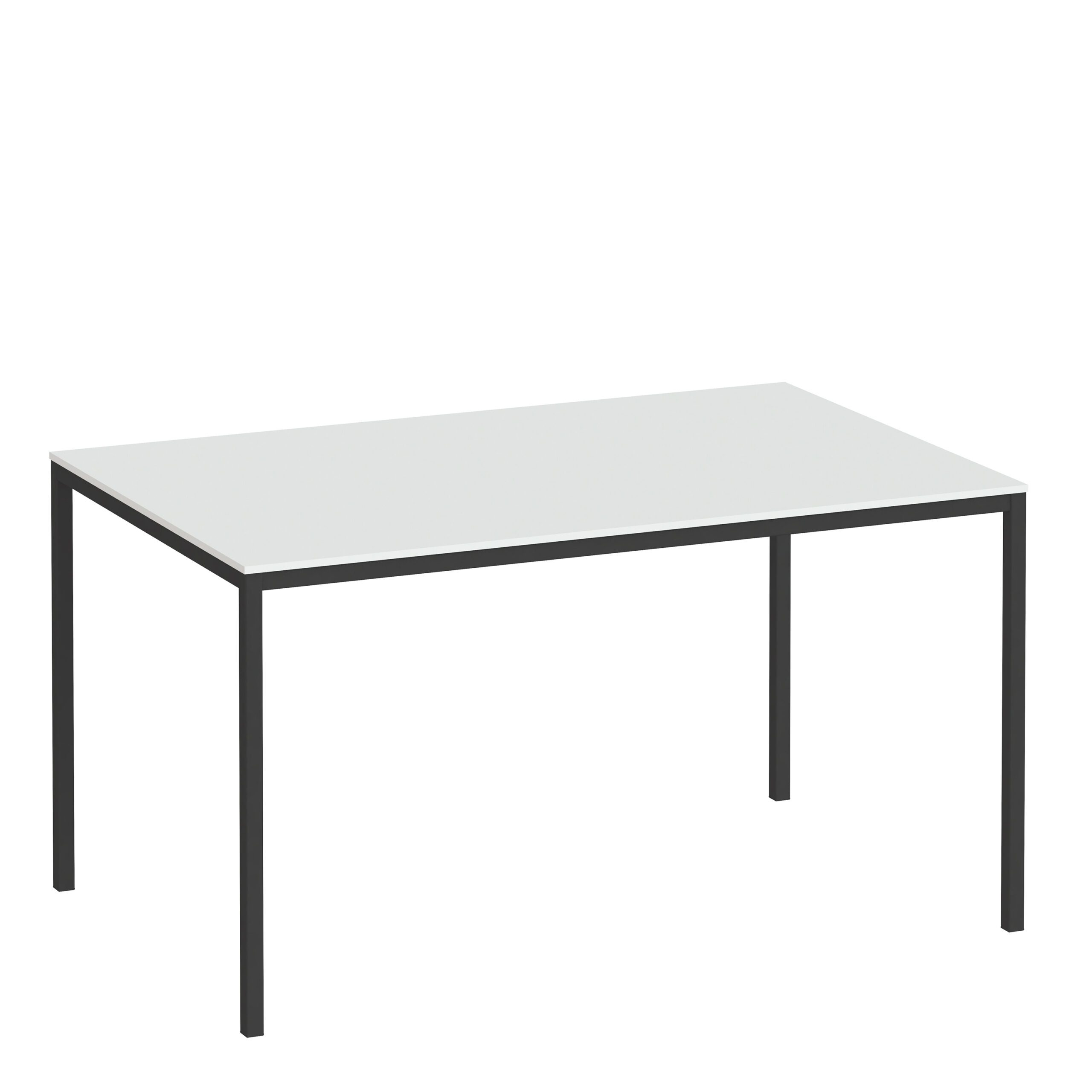 Folks Dining Table 140cm White Table Top with Black Legs