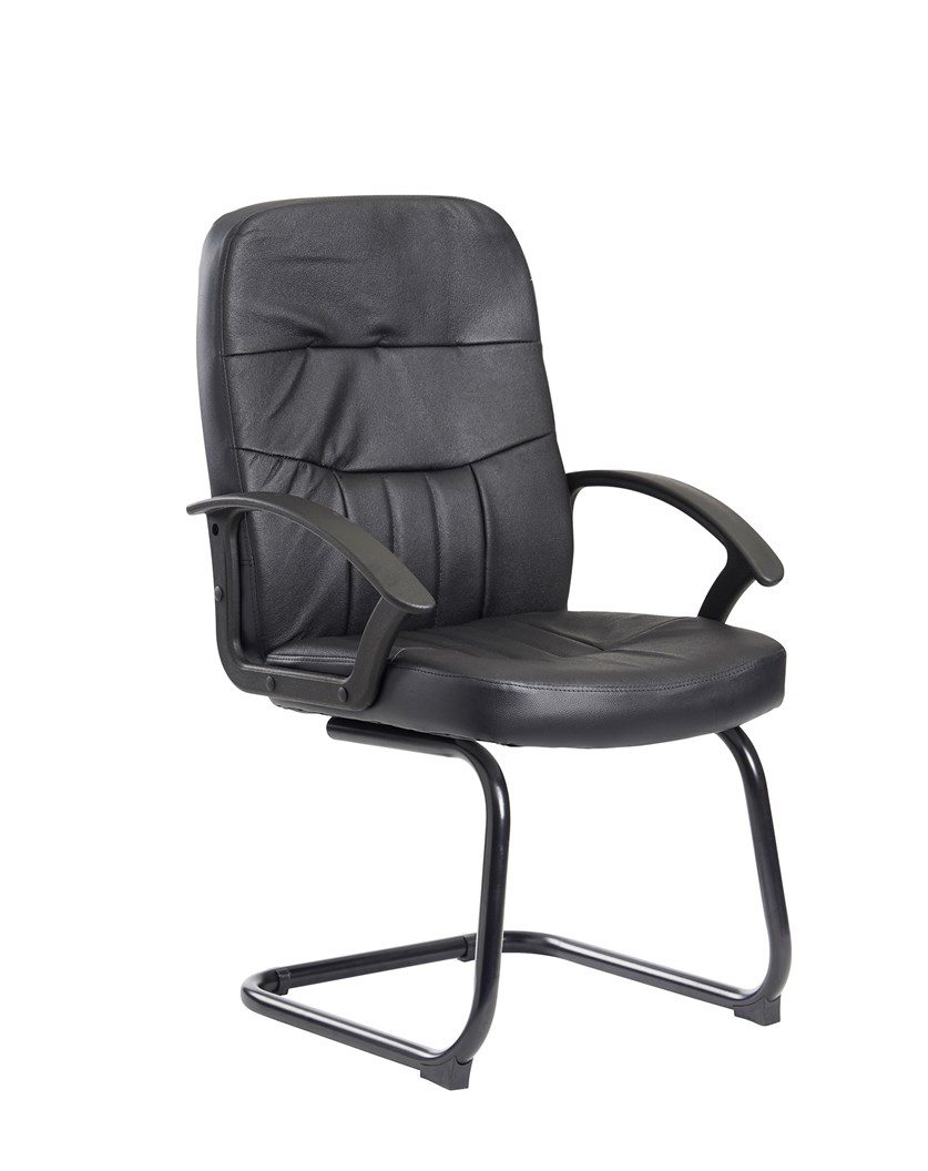 Alier Medium Black Leather Executive Office Visitor Chair Support
