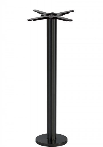 Black Round Floor Fixed Table Base - Poseur height - 1050 mm
